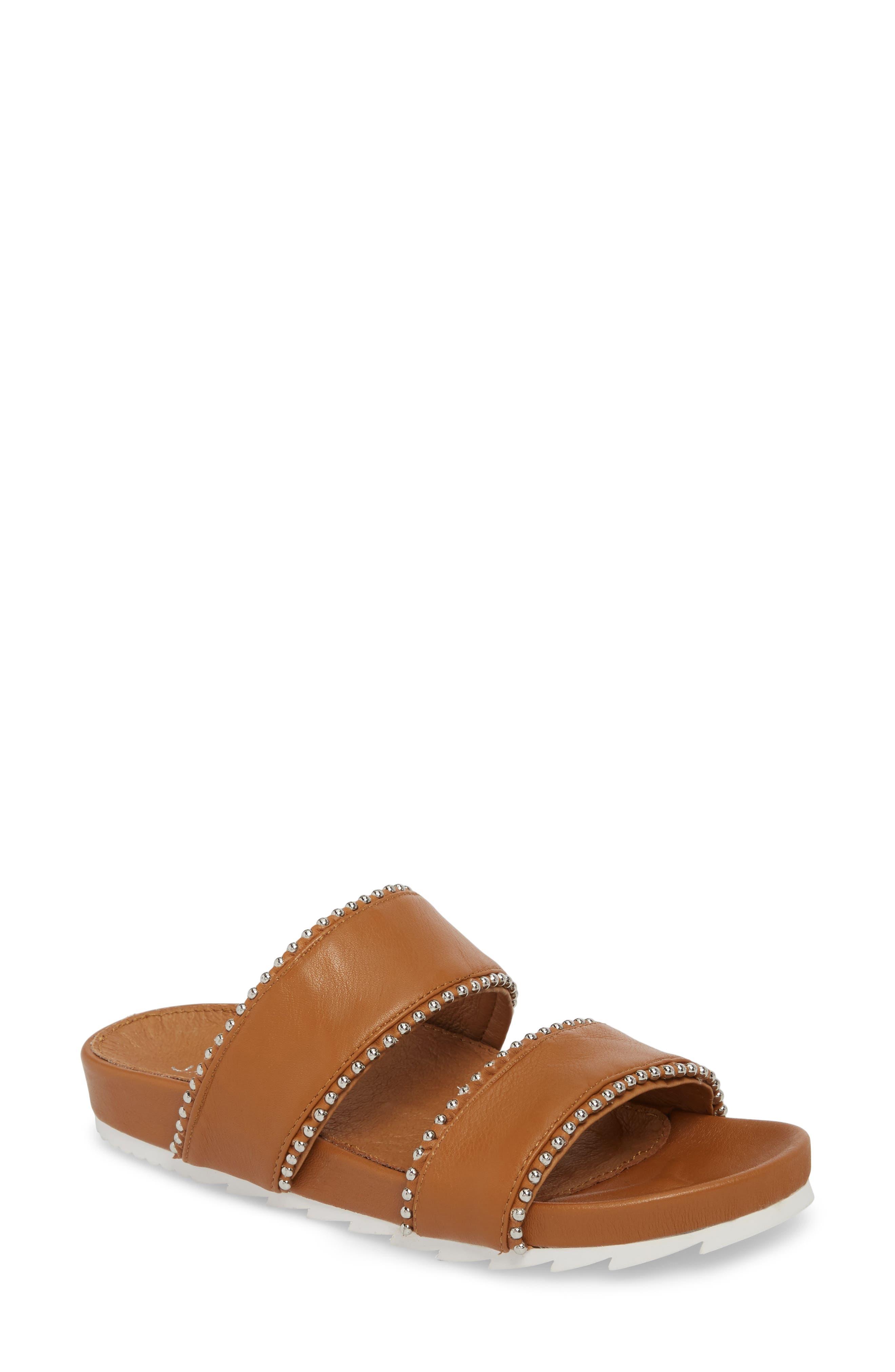 Emmie Bead Chain Slide Sandal,                         Main,                         color, TAN LEATHER