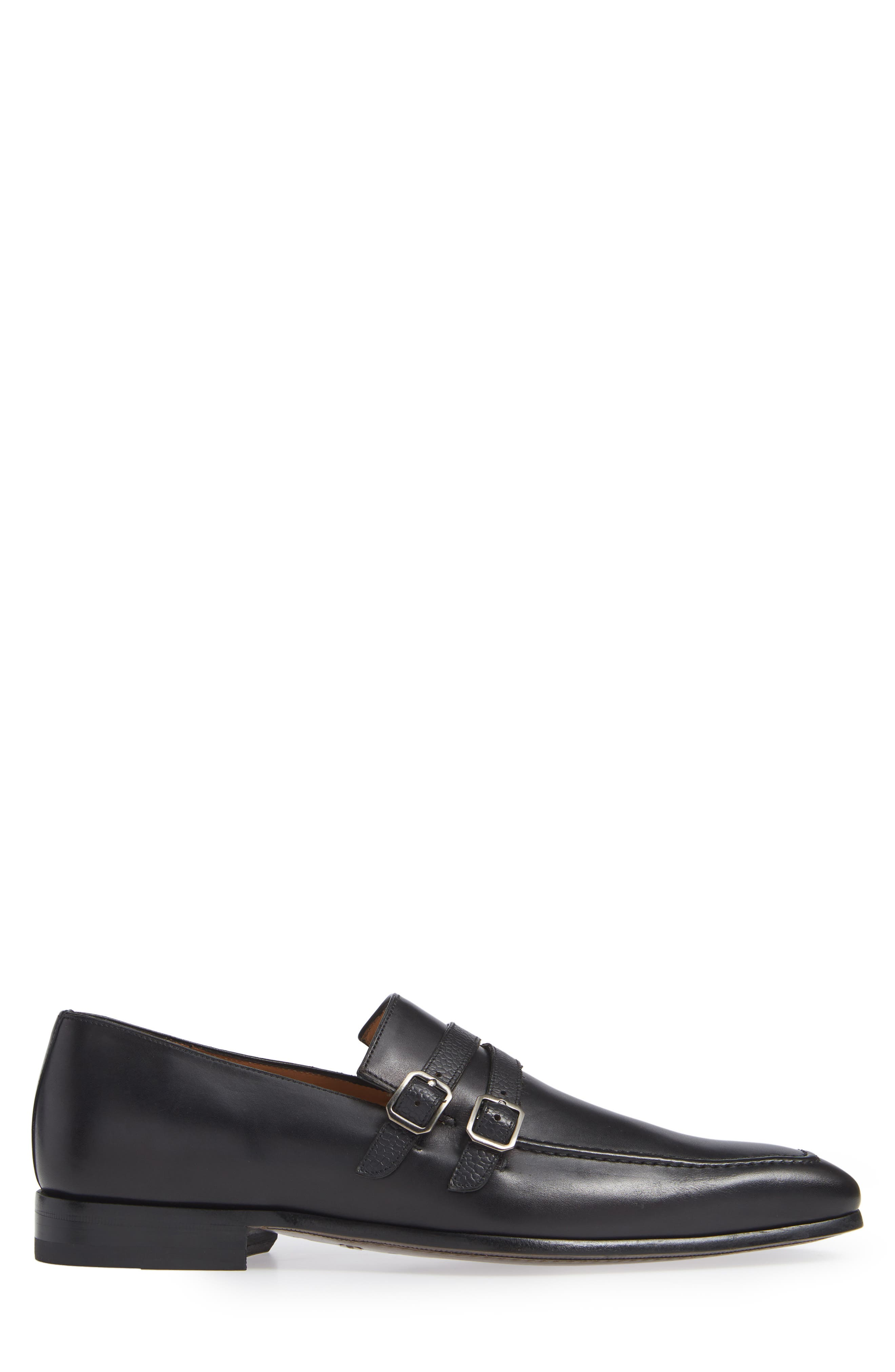 Callas Double Buckle Loafer,                             Alternate thumbnail 3, color,                             BLACK LEATHER