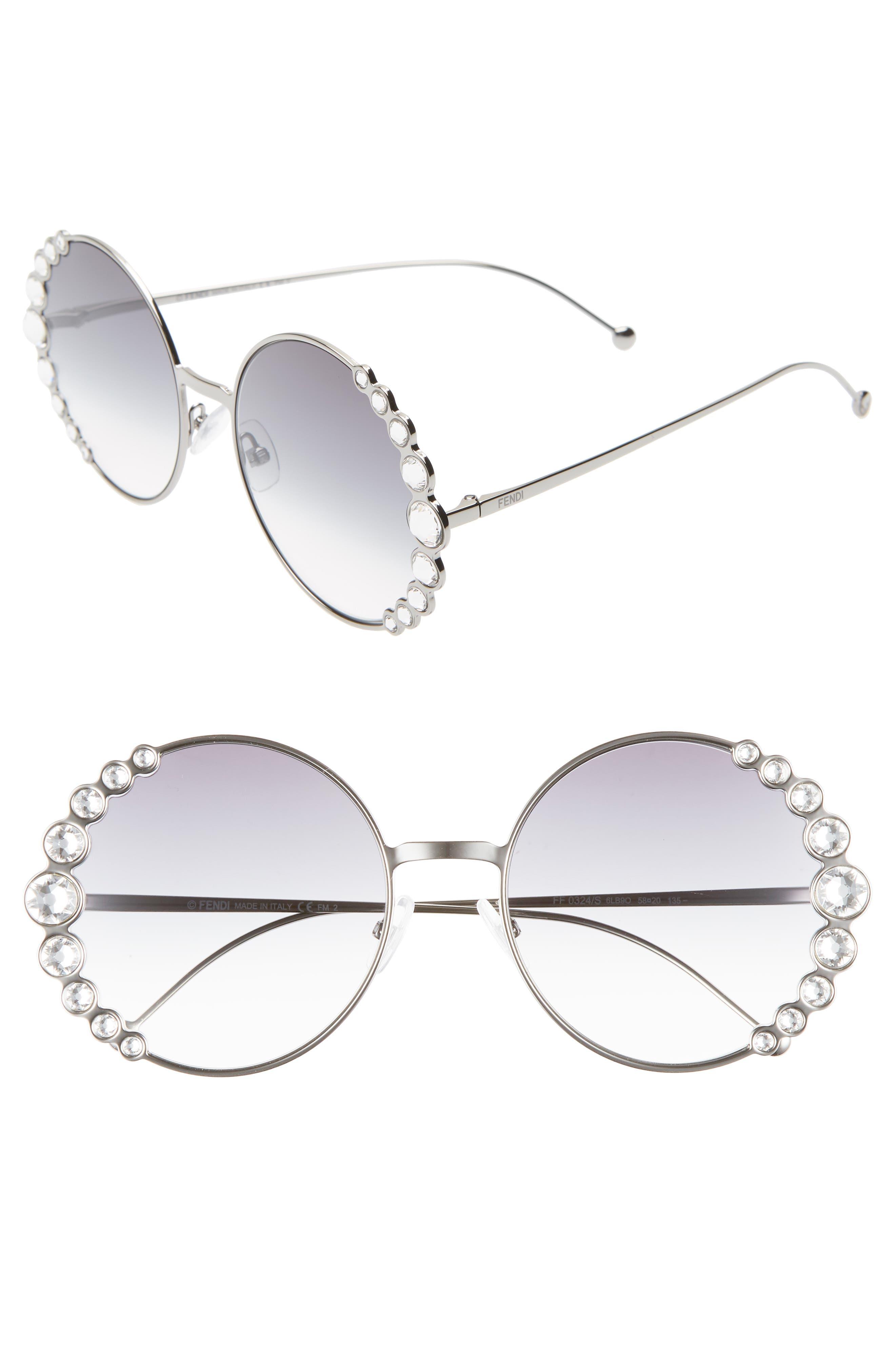 58mm Round Sunglasses,                         Main,                         color, RUTHENIUM