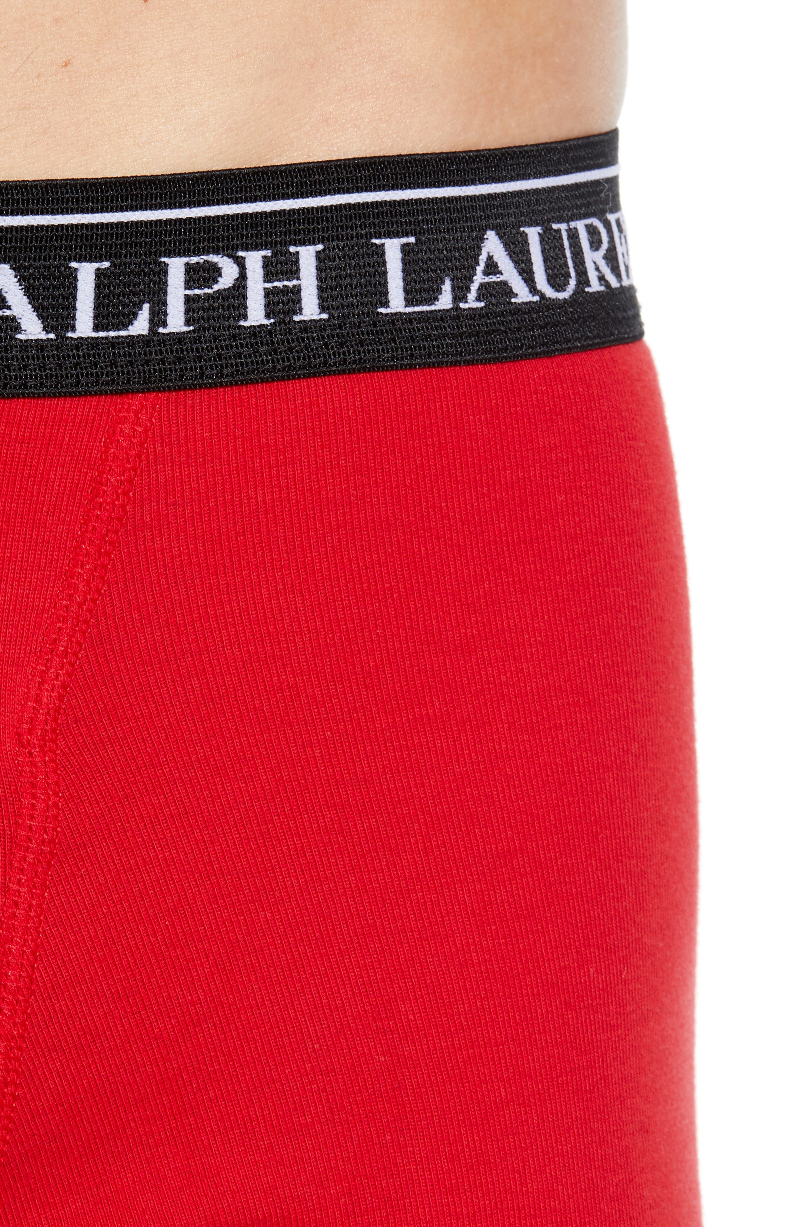 5-Pack Cotton Boxer Briefs,                             Alternate thumbnail 5, color,                             ANDOVER HEATHER/ RED/ BLACK