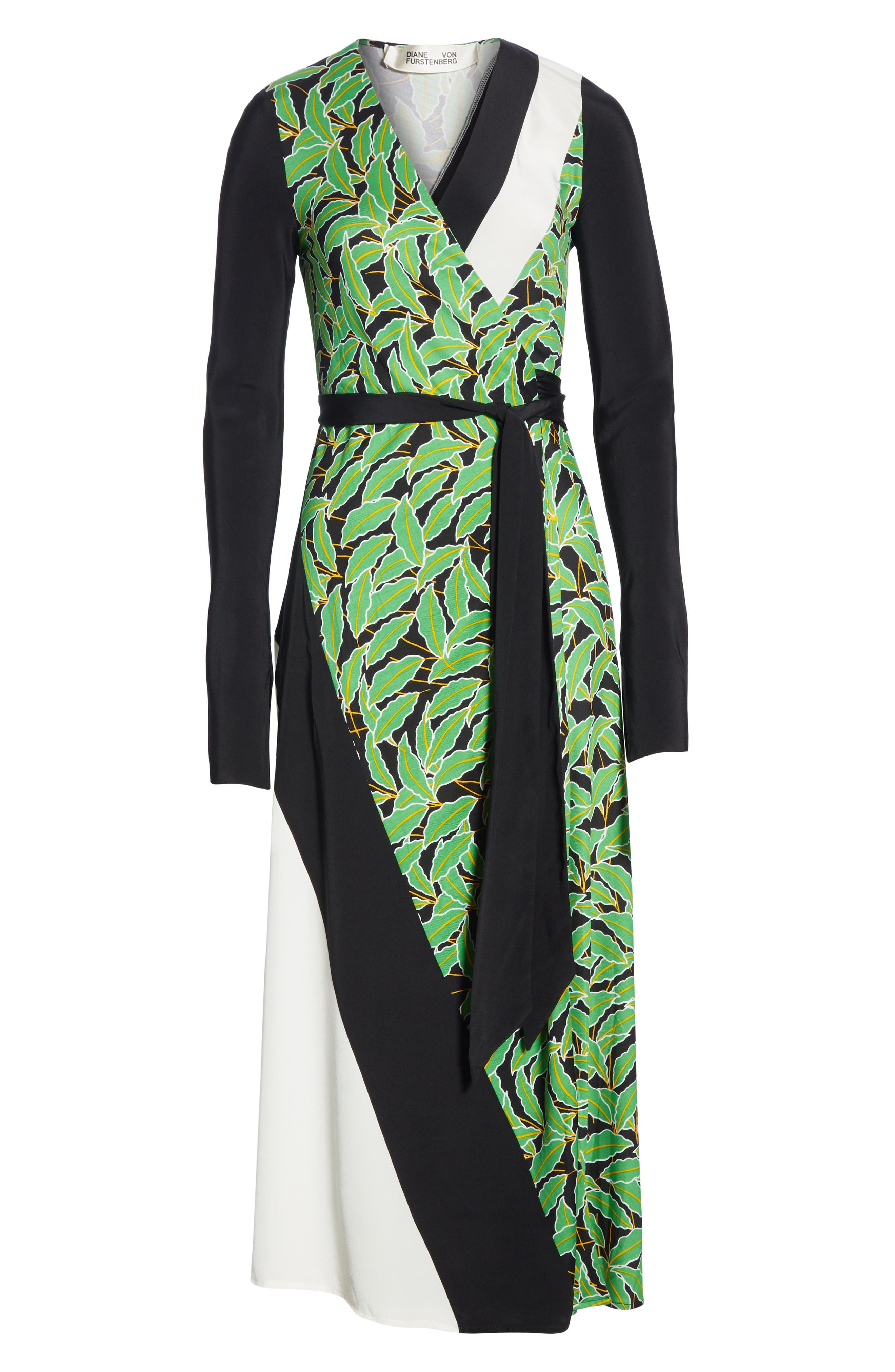 Maureen Leaf Print Silk Wrap Dress,                             Alternate thumbnail 7, color,                             WINDSOR PALM BLACK MULTI