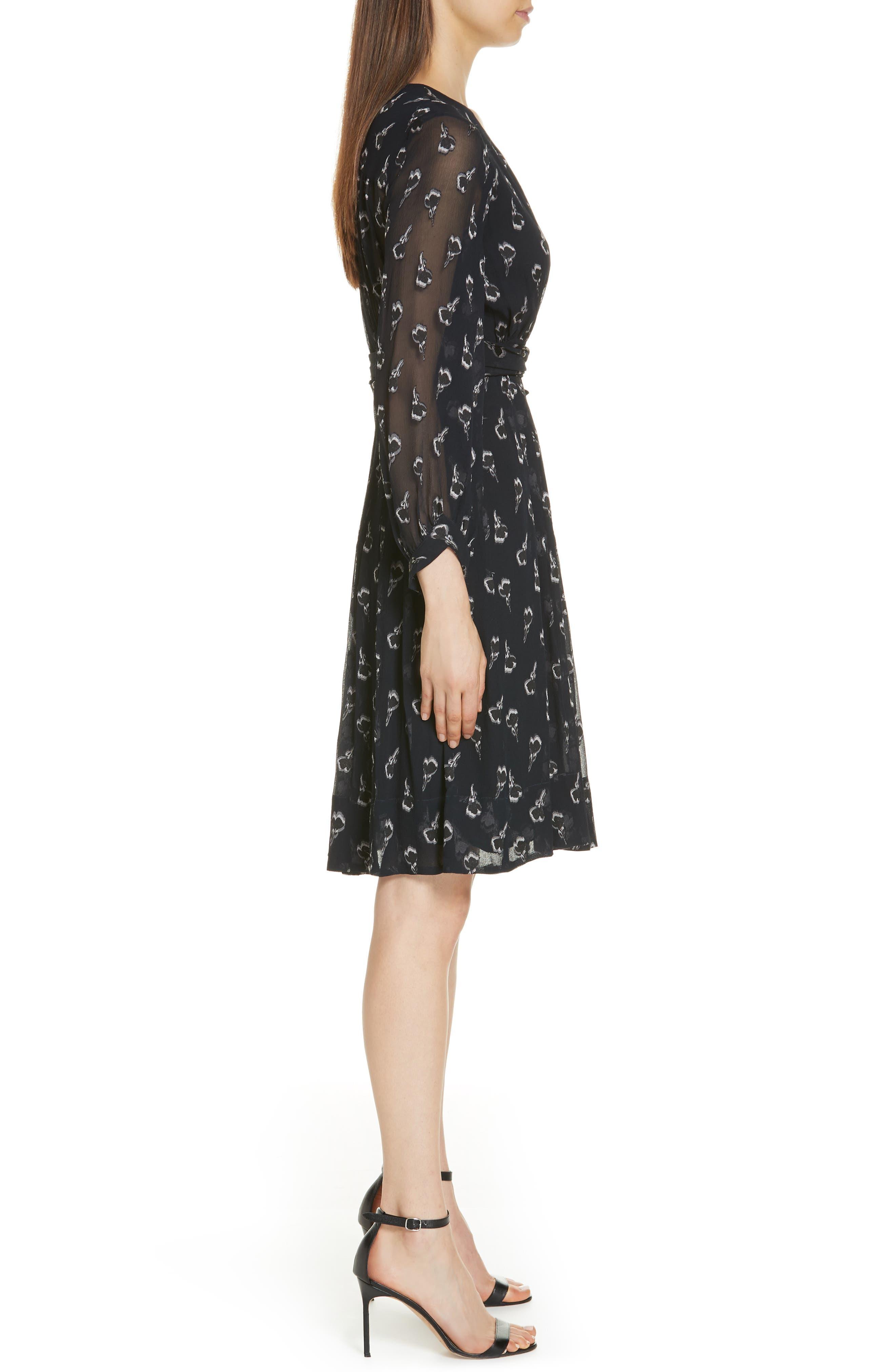 Memory Floral Silk Chiffon Dress,                             Alternate thumbnail 3, color,                             NOIR