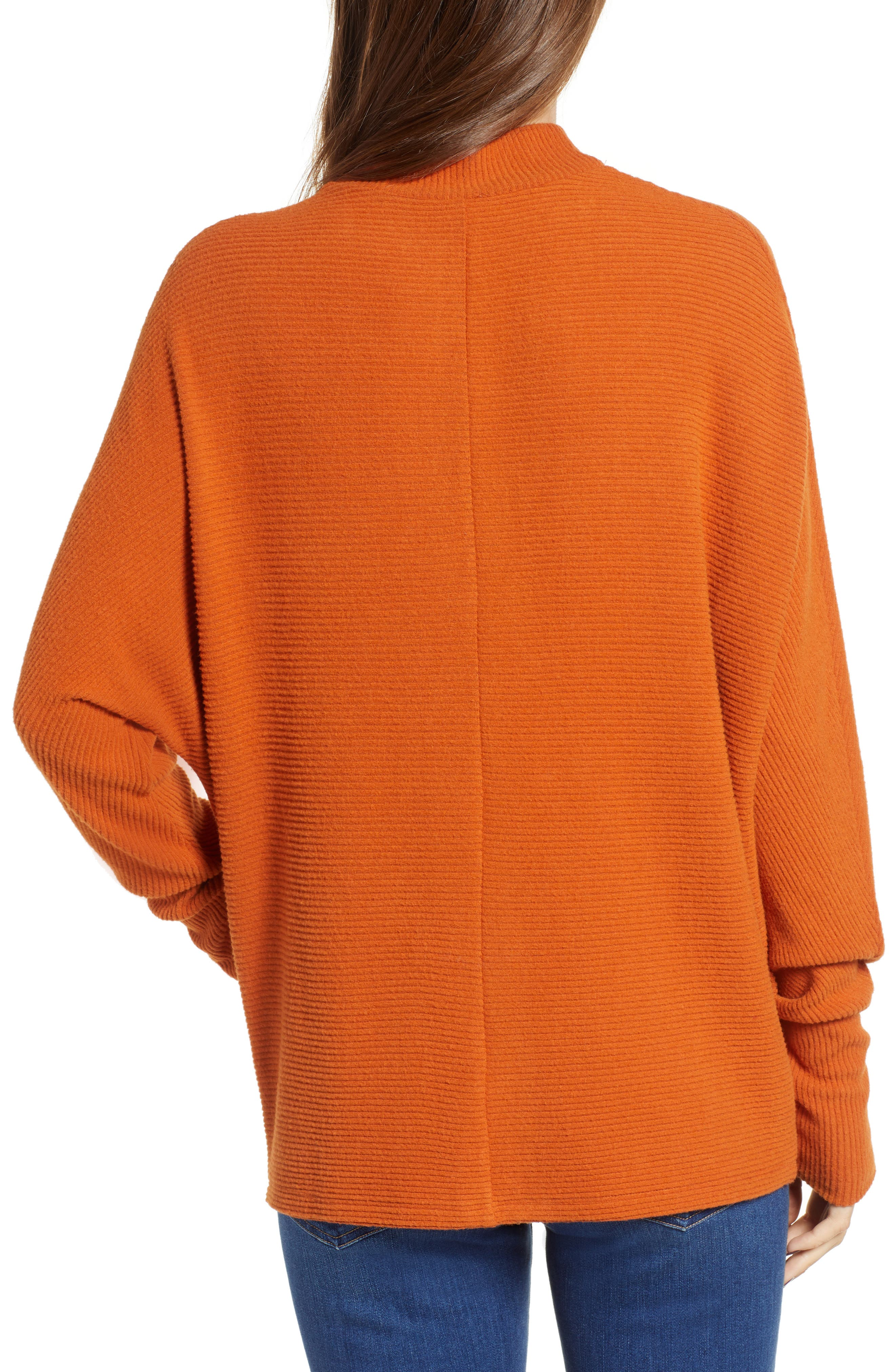 Dolman Sleeve Ribbed Top,                             Alternate thumbnail 3, color,                             RUST CIDER
