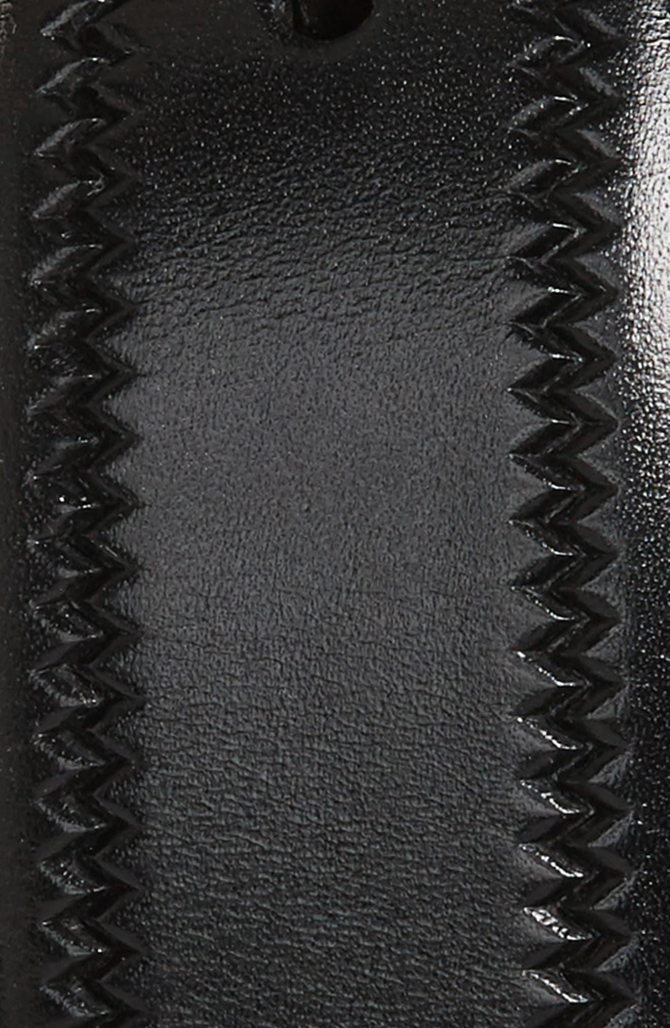 Embossed Leather Belt,                             Alternate thumbnail 2, color,                             BLACK