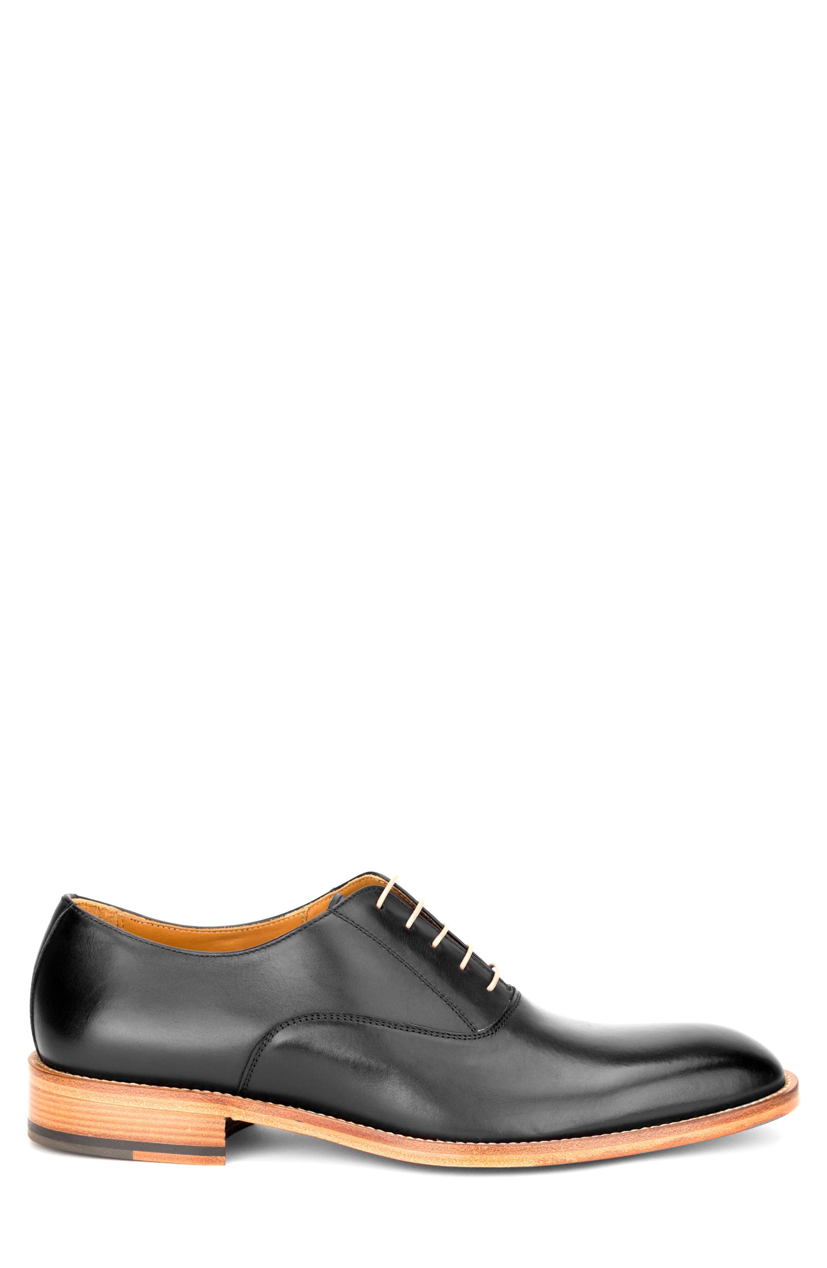 Oliver Plain Toe Oxford,                             Alternate thumbnail 3, color,                             BLACK LEATHER