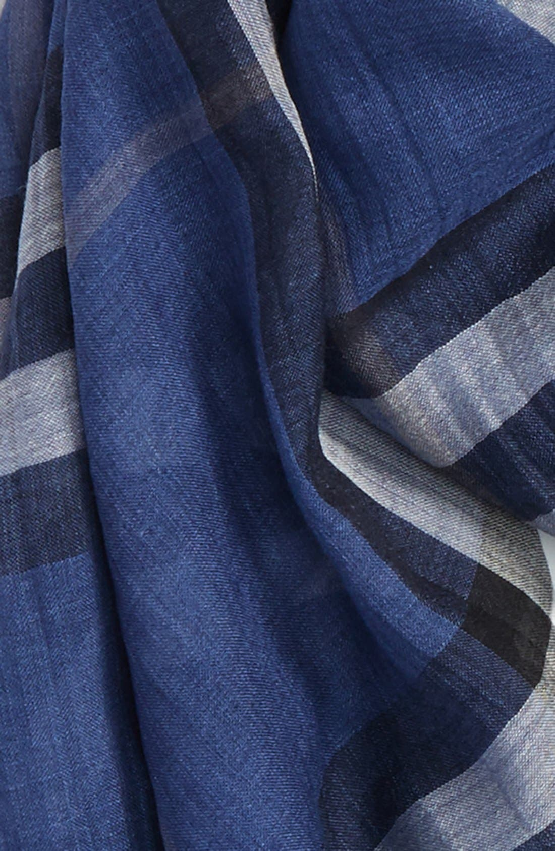 Giant Check Print Wool & Silk Scarf,                             Alternate thumbnail 91, color,