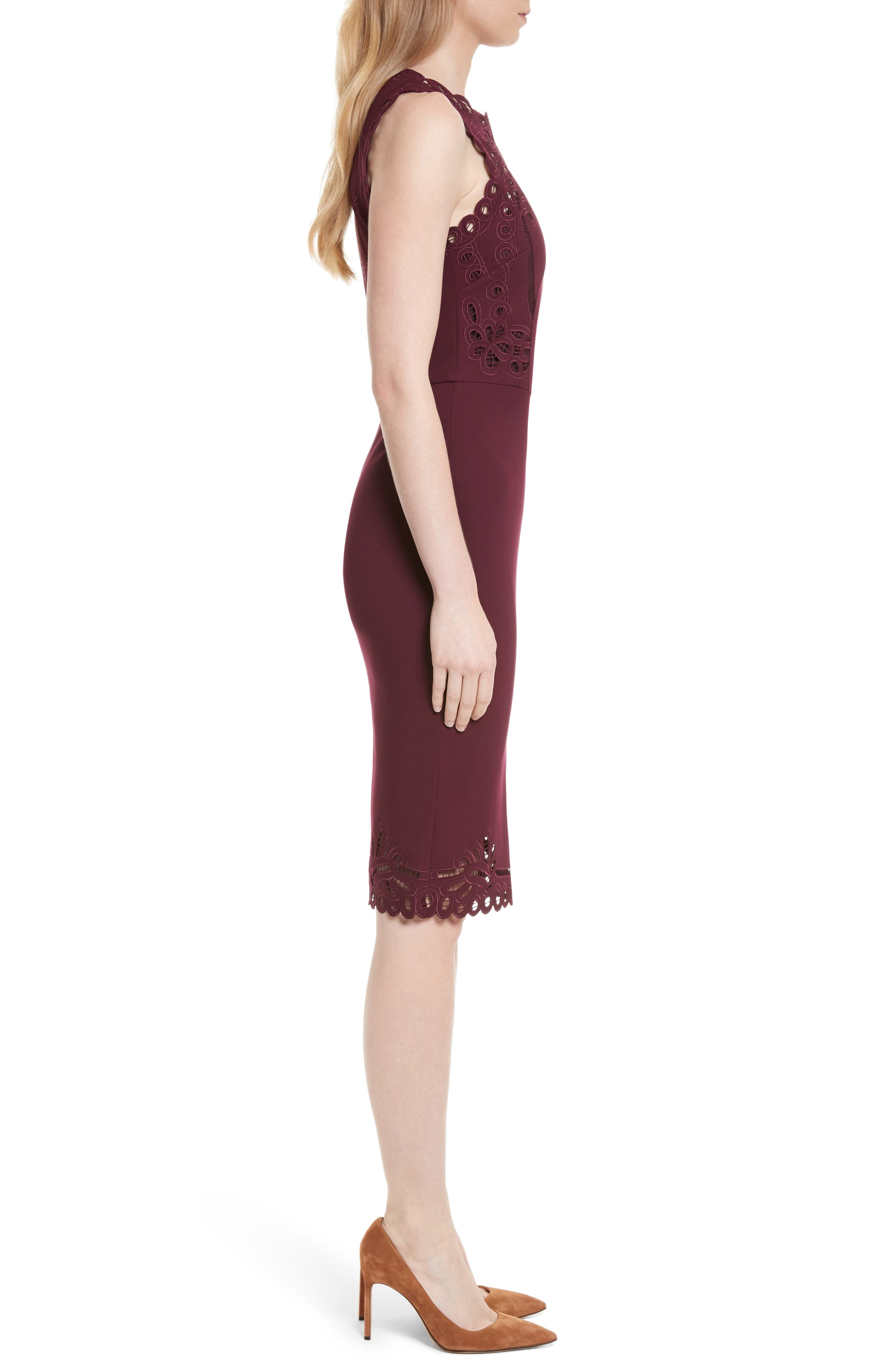 Verita Cutout Yoke Sheath Dress,                             Alternate thumbnail 3, color,                             930