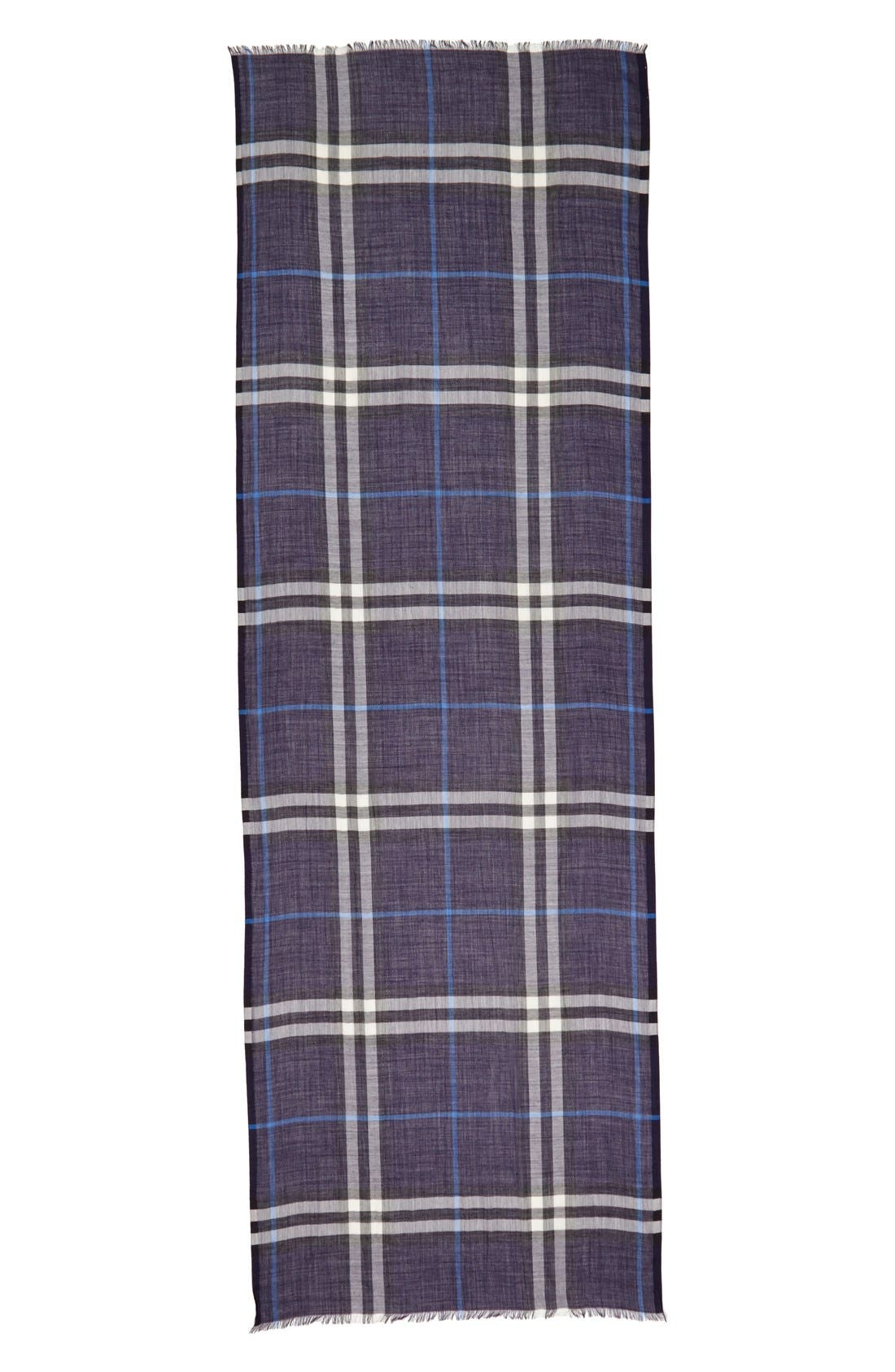 Giant Check Print Wool & Silk Scarf,                             Alternate thumbnail 96, color,