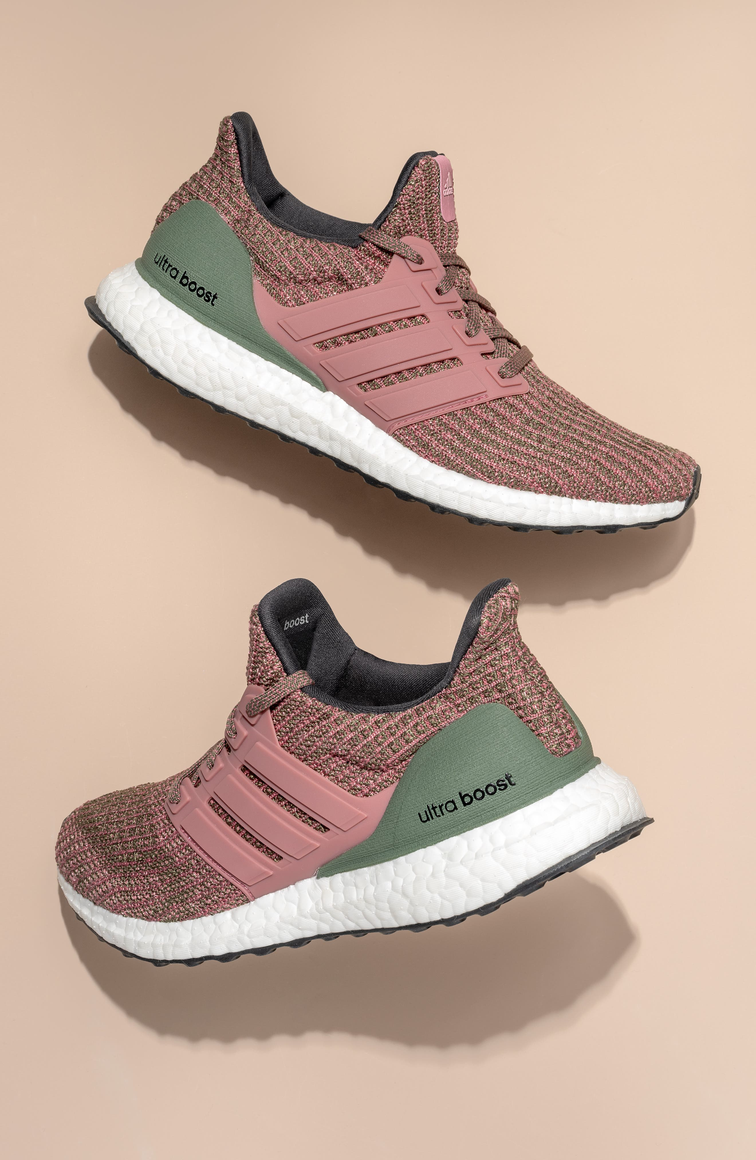 'UltraBoost' Running Shoe,                             Alternate thumbnail 9, color,                             TRACE MAROON/ BASE GREEN
