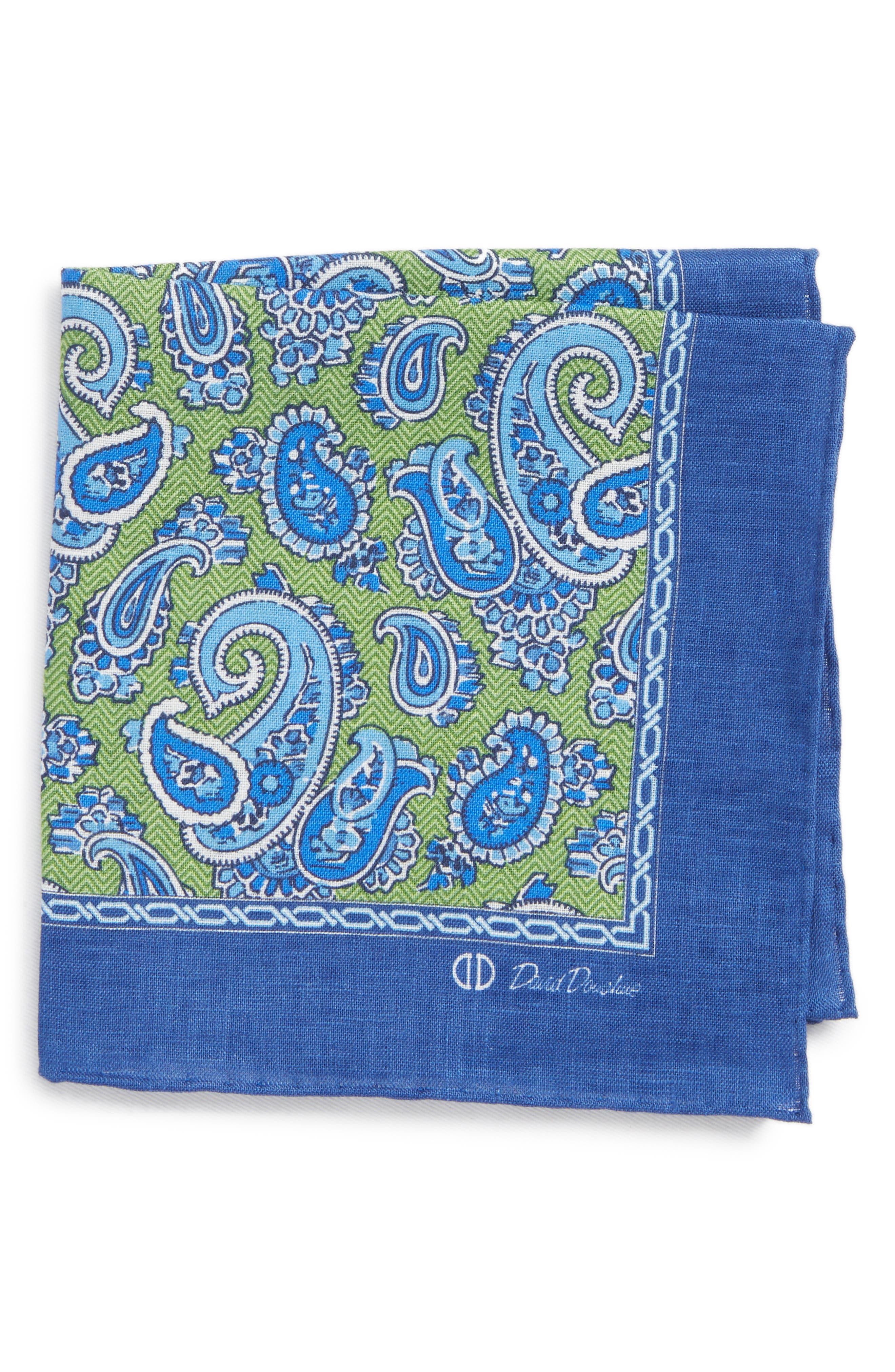 Paisley Linen Pocket Square,                         Main,                         color,