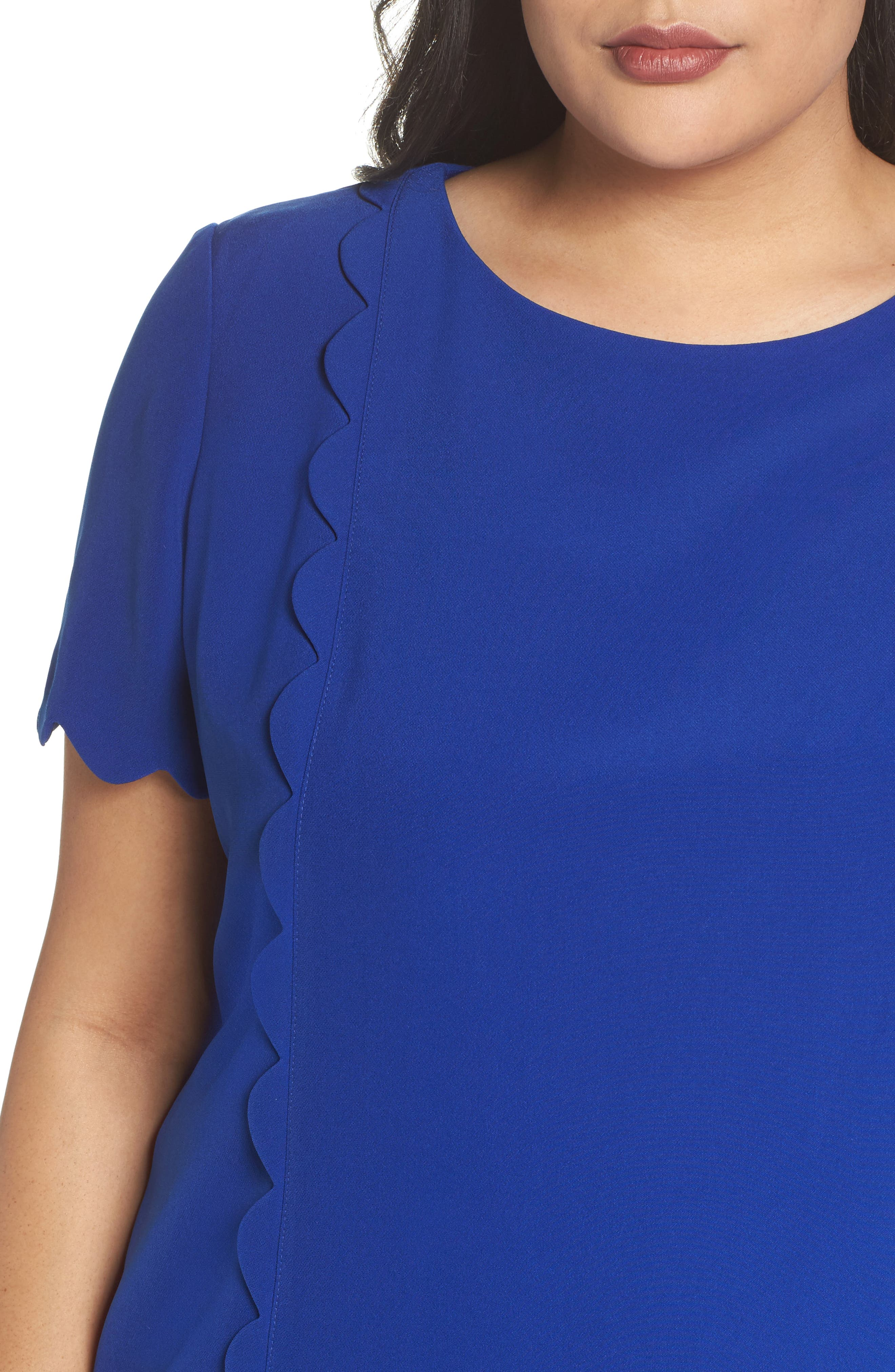 Scalloped Trim Shift Dress,                             Alternate thumbnail 4, color,                             480
