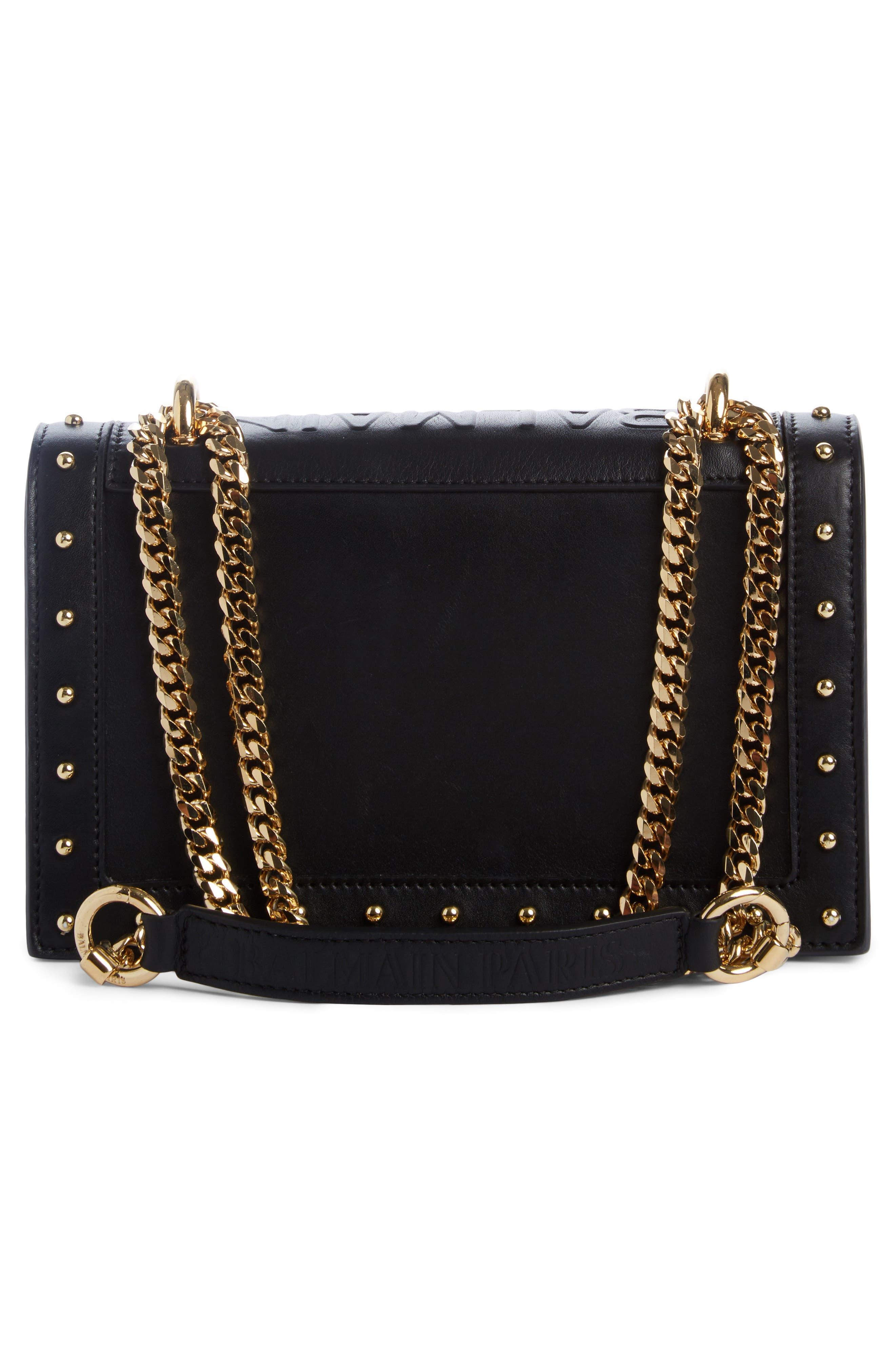 Love Studded Leather Shoulder Bag,                             Alternate thumbnail 2, color,                             NOIR