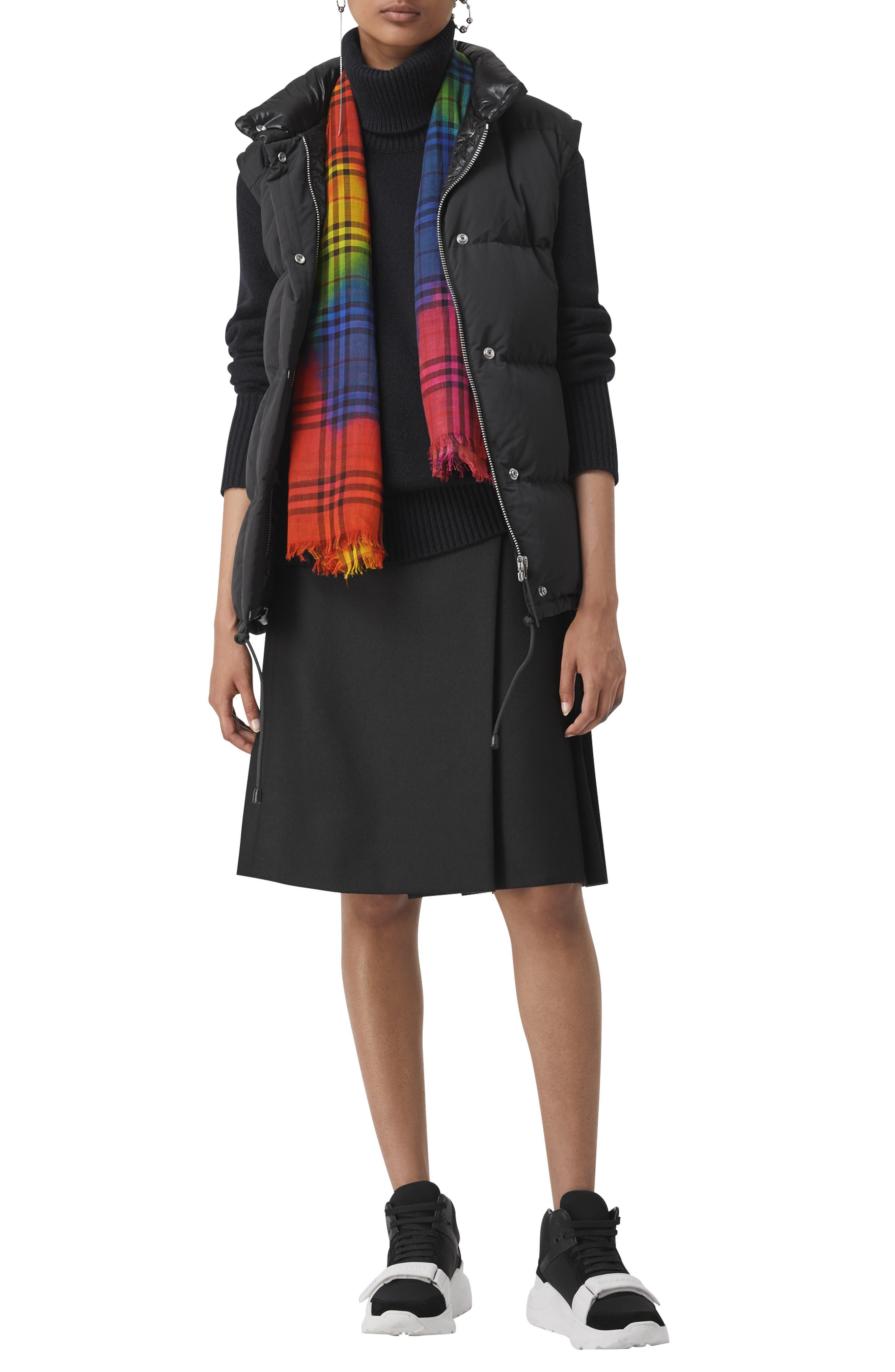 Rainbow Tie Dye Vintage Check Wool & Silk Scarf,                             Alternate thumbnail 2, color,                             600
