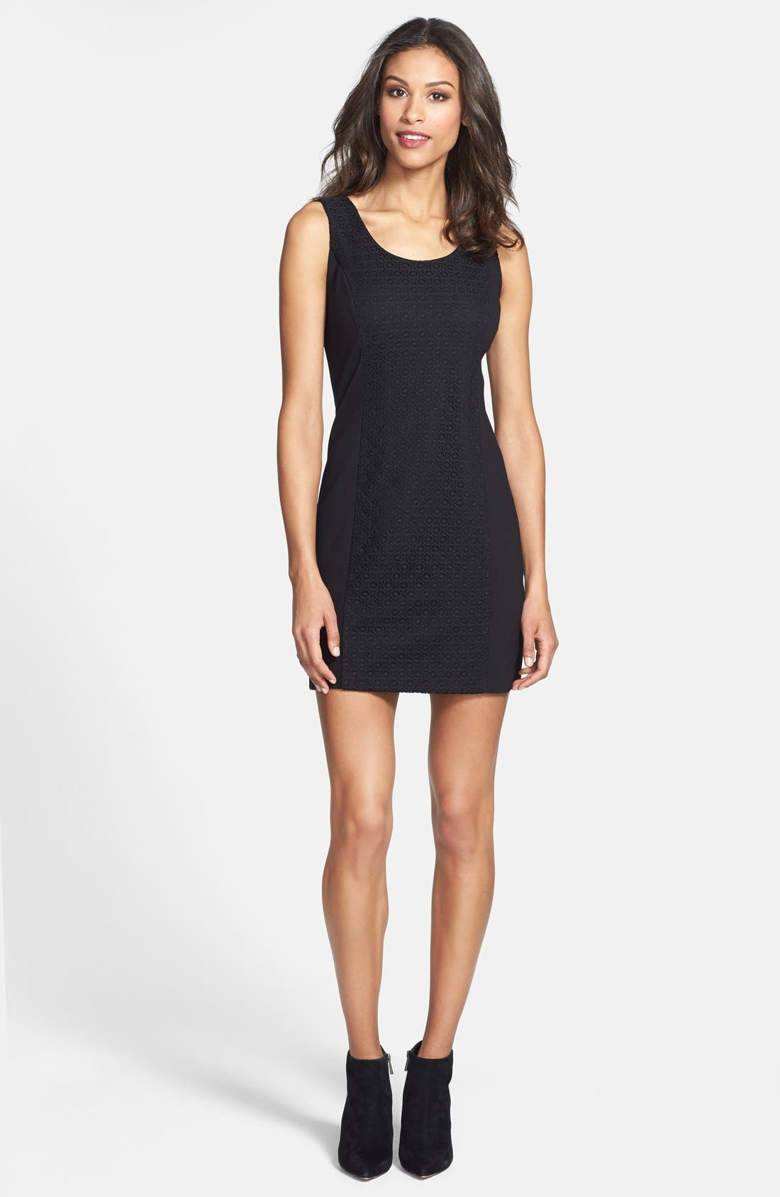Textured Front Ponte Knit Minidress,                         Main,                         color, 001