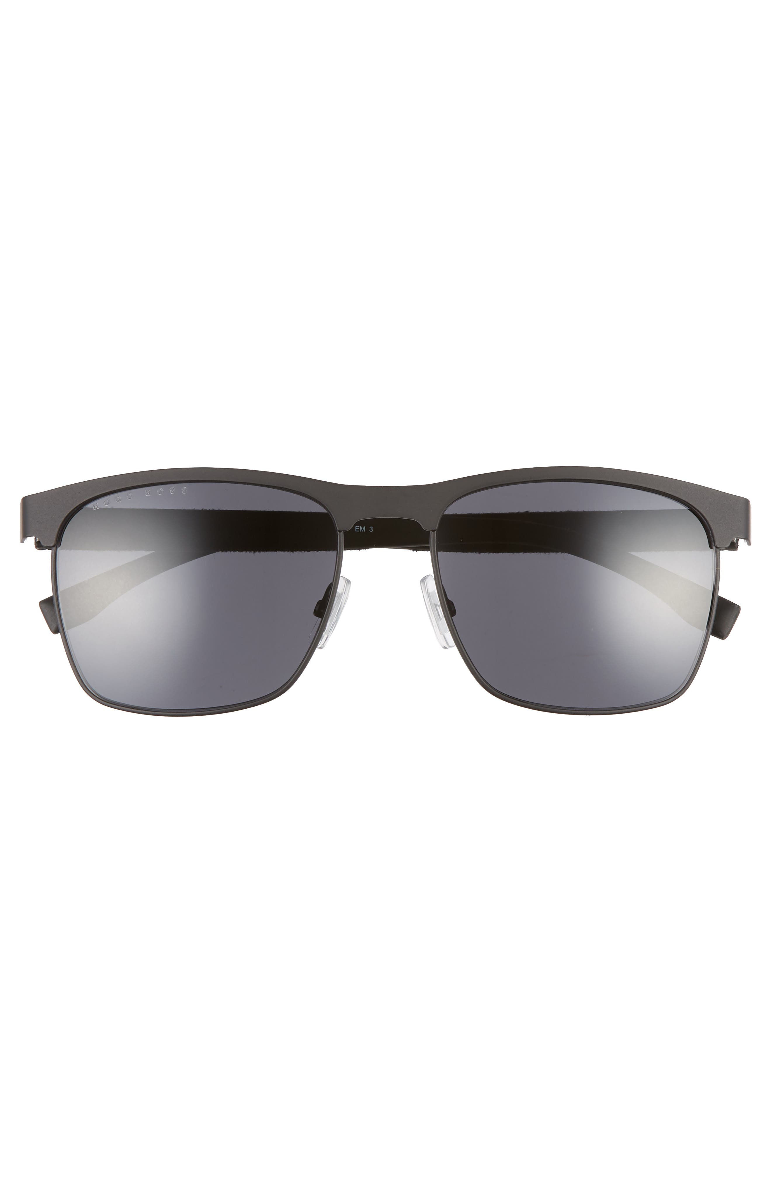 BOSS,                             57mm Rectangle Sunglasses,                             Alternate thumbnail 3, color,                             MATTE BLACK