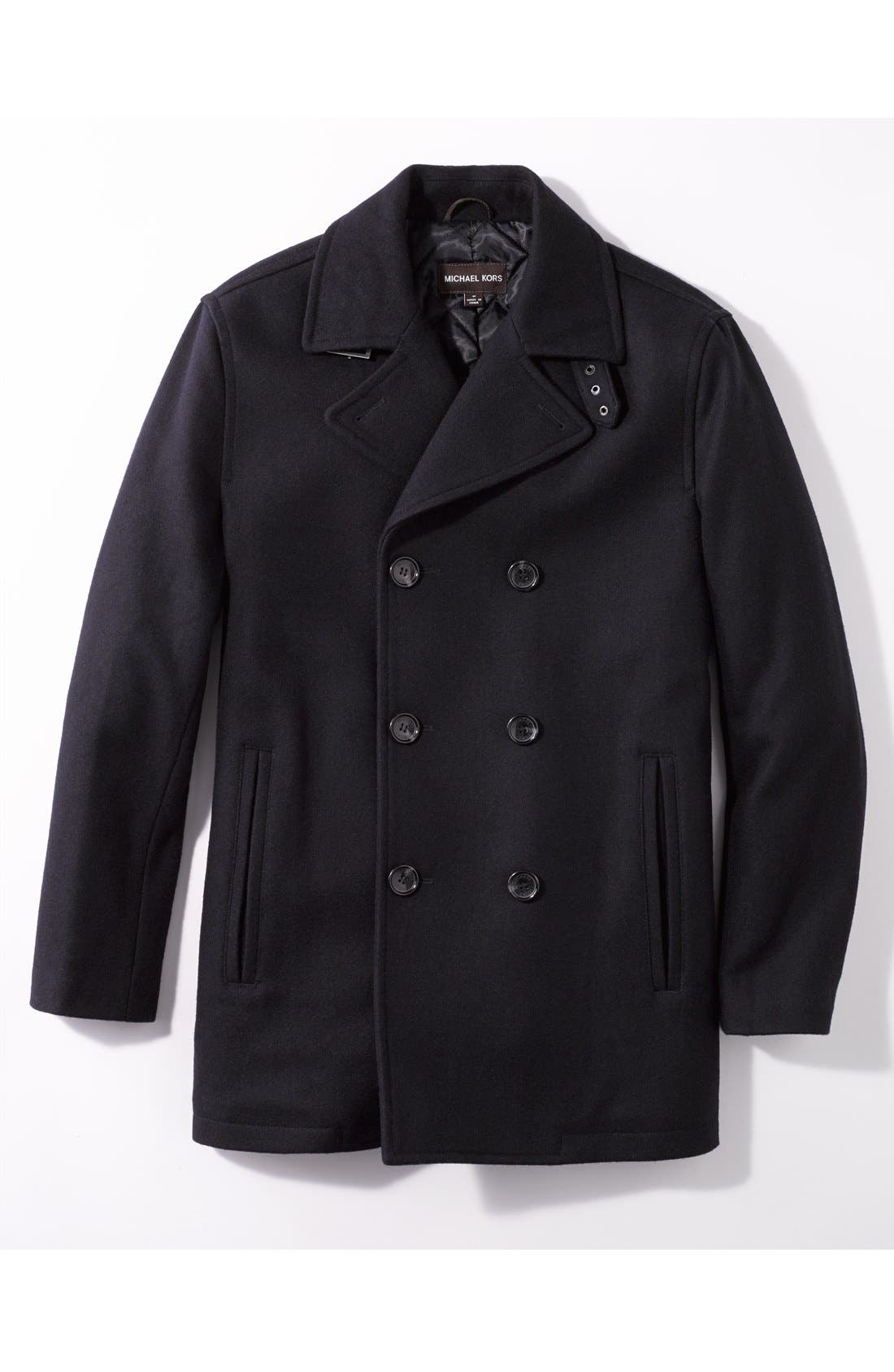 Wool Blend Double Breasted Peacoat,                             Main thumbnail 5, color,