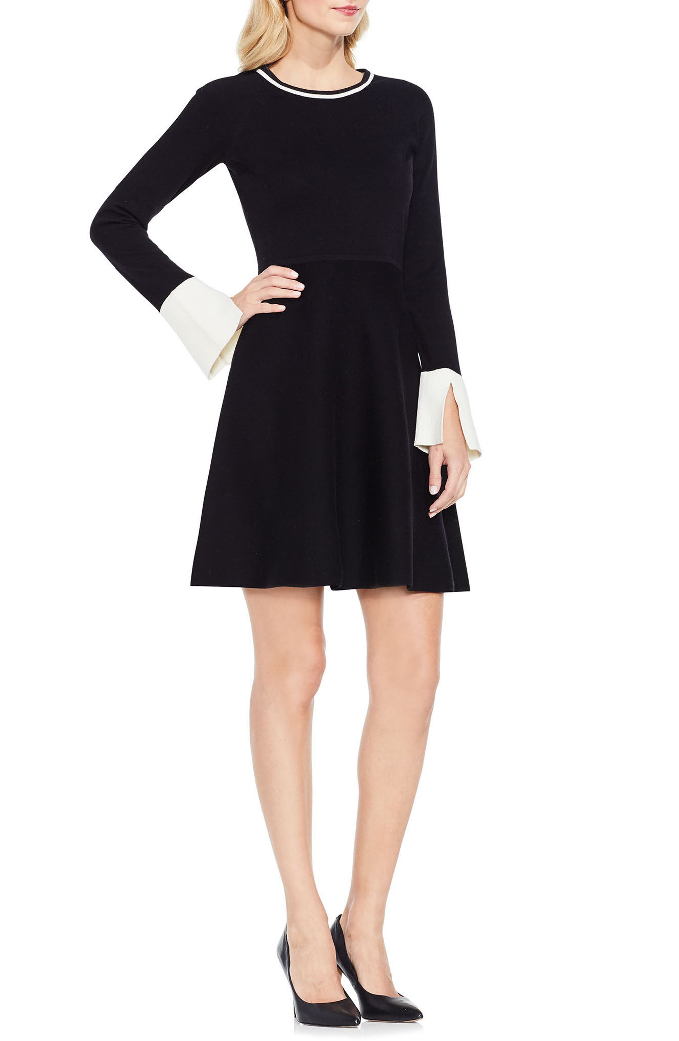 Fit & Flare Sweater Dress,                             Main thumbnail 1, color,                             006