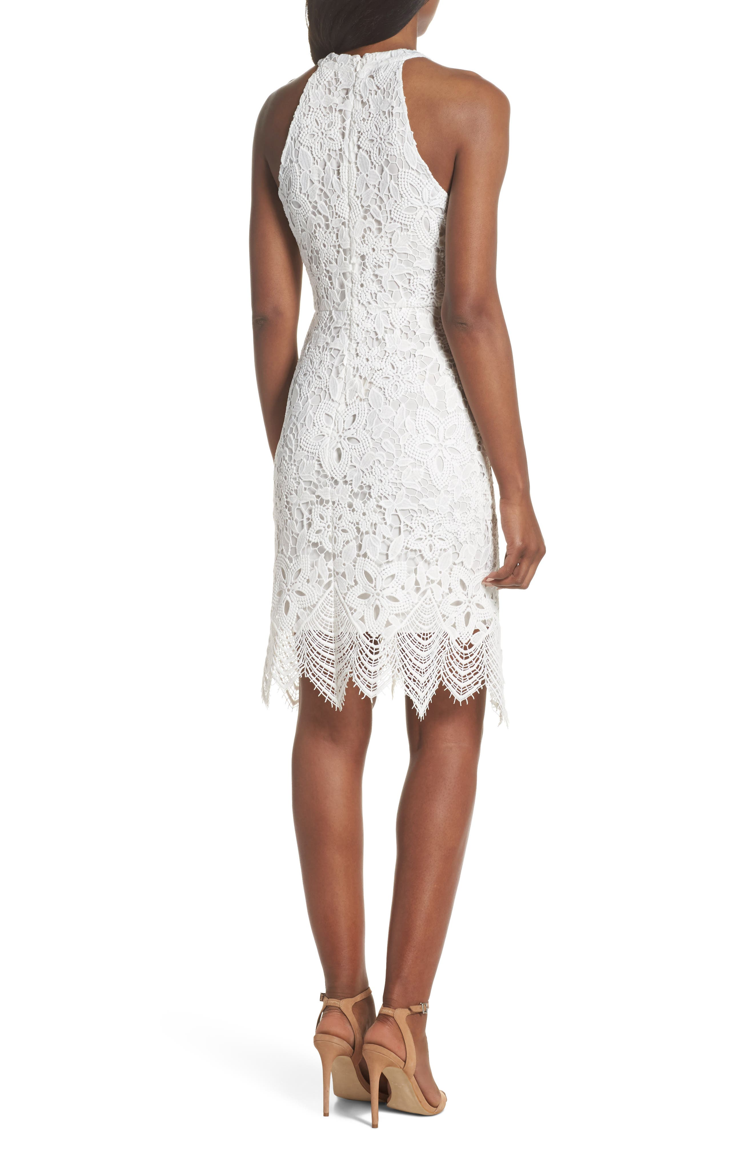 Isla Lace Halter Dress,                             Alternate thumbnail 2, color,                             100