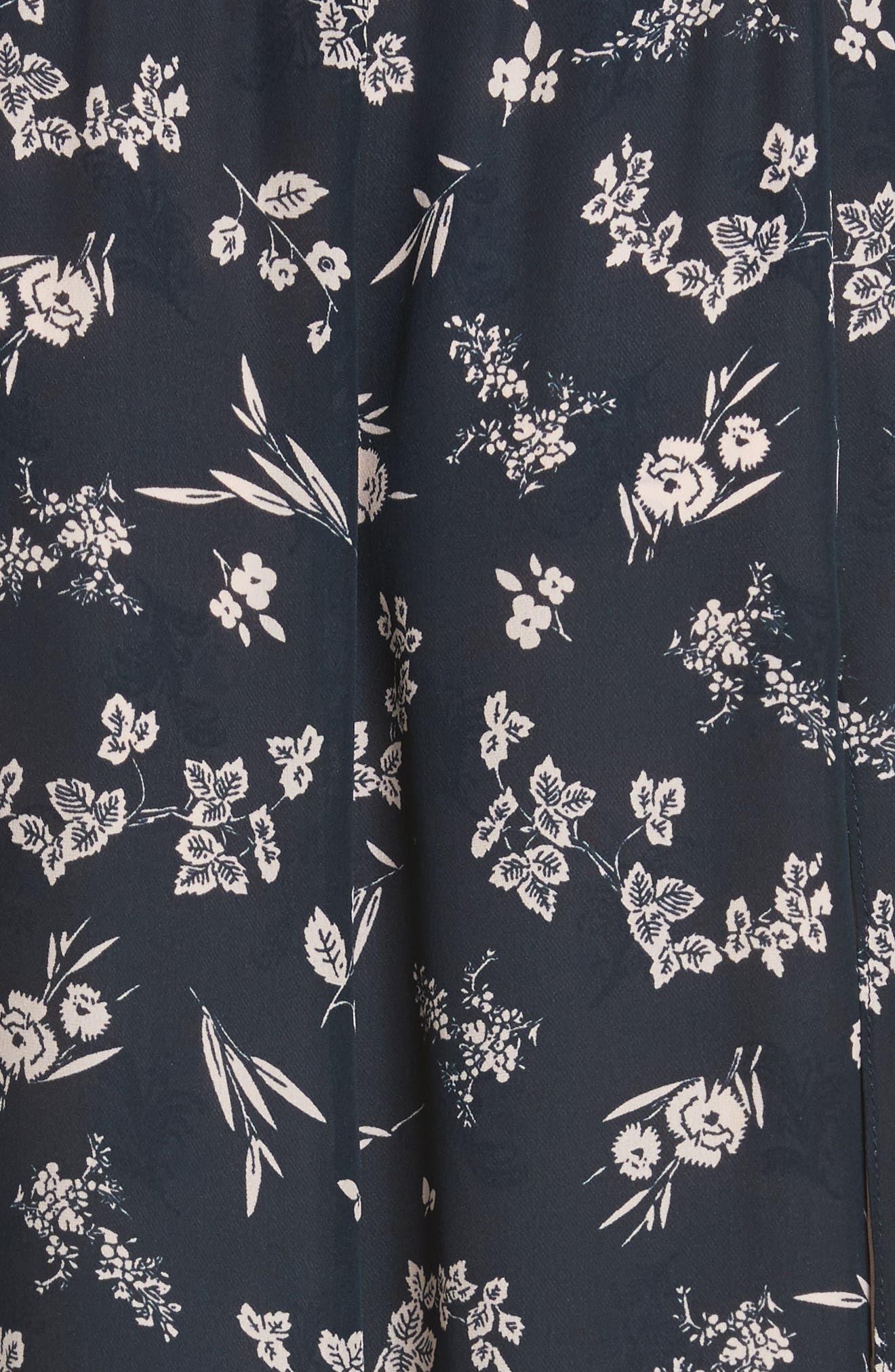 Jocelyn Floral Print Layered Silk Dress,                             Alternate thumbnail 5, color,                             499