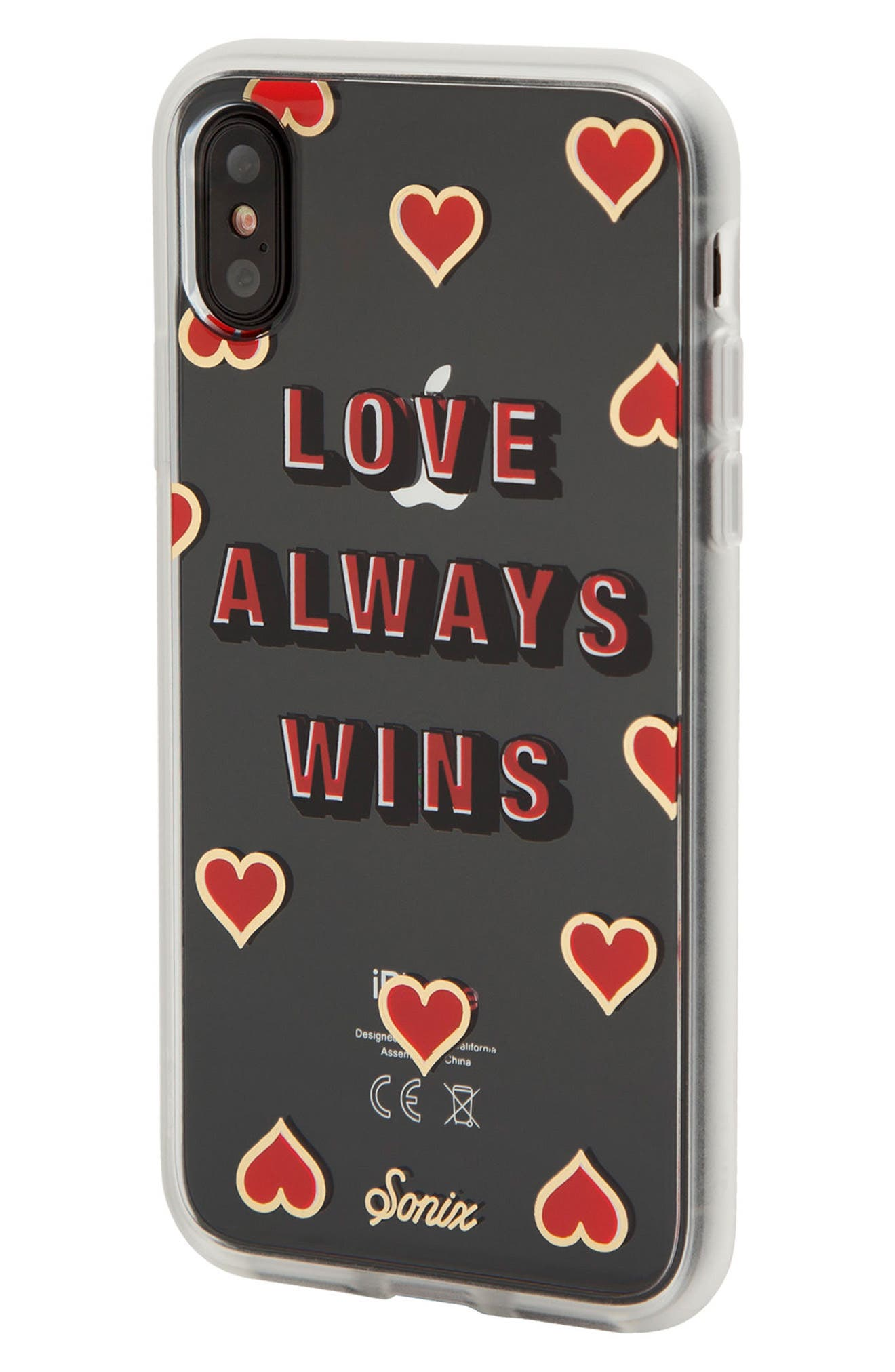 Love Always Wins iPhone X & Xs Case,                             Main thumbnail 1, color,                             CLEAR/ RED