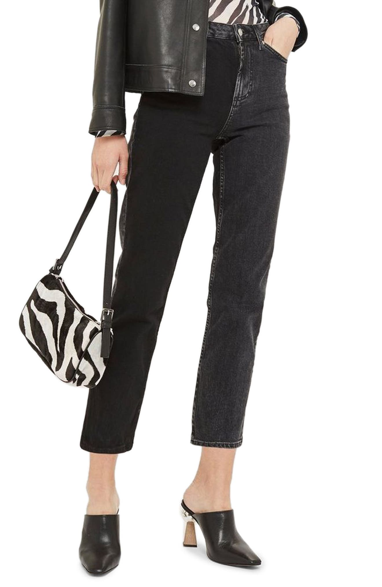 TOPSHOP Colorblock Straight Leg Jeans, Main, color, WASHED BLACK