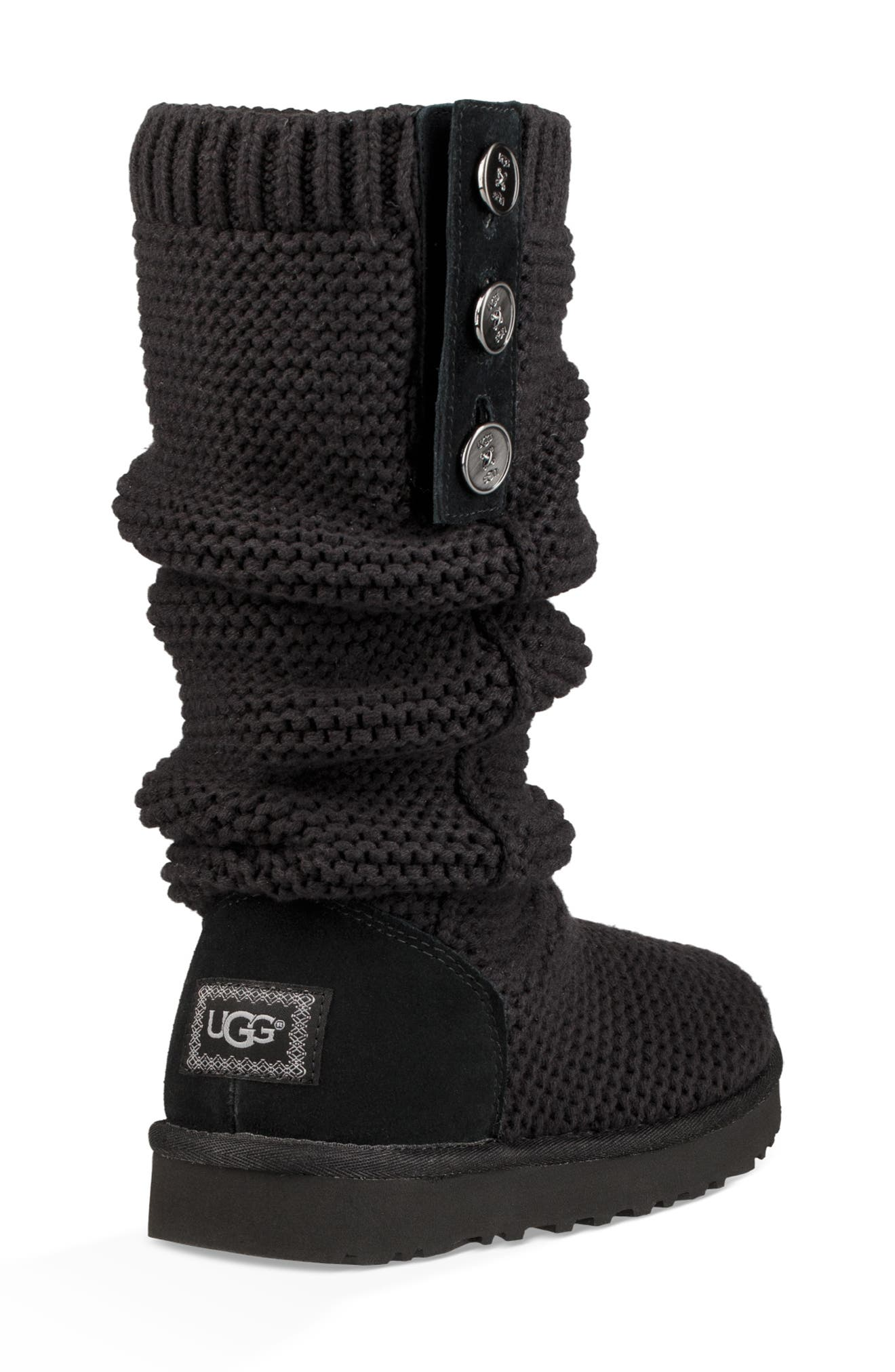 UGG<SUP>®</SUP>,                             Purl Cardy Knit Boot,                             Alternate thumbnail 3, color,                             001