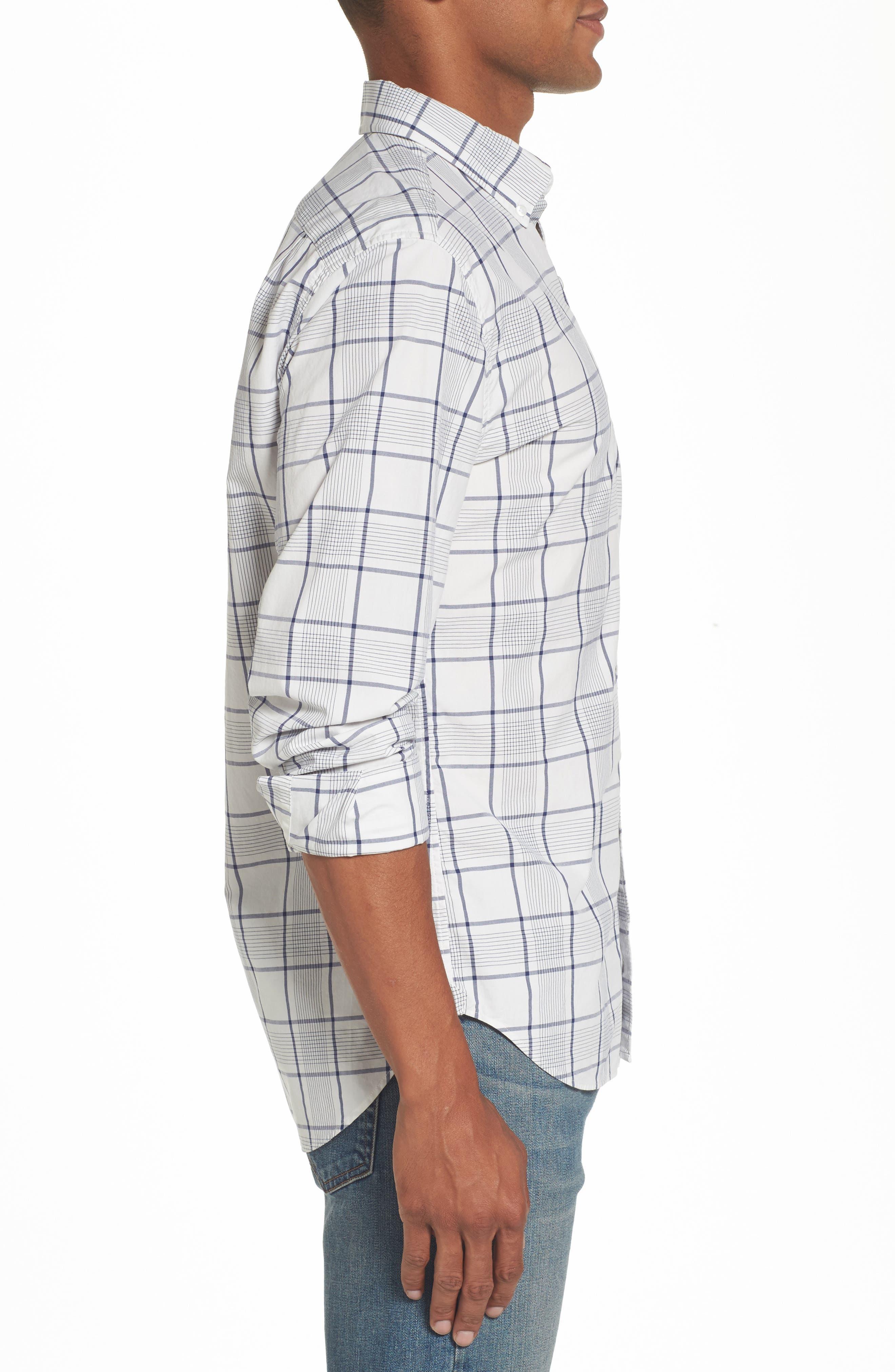 Slim Fit Summerweight Plaid Sport Shirt,                             Alternate thumbnail 3, color,                             400