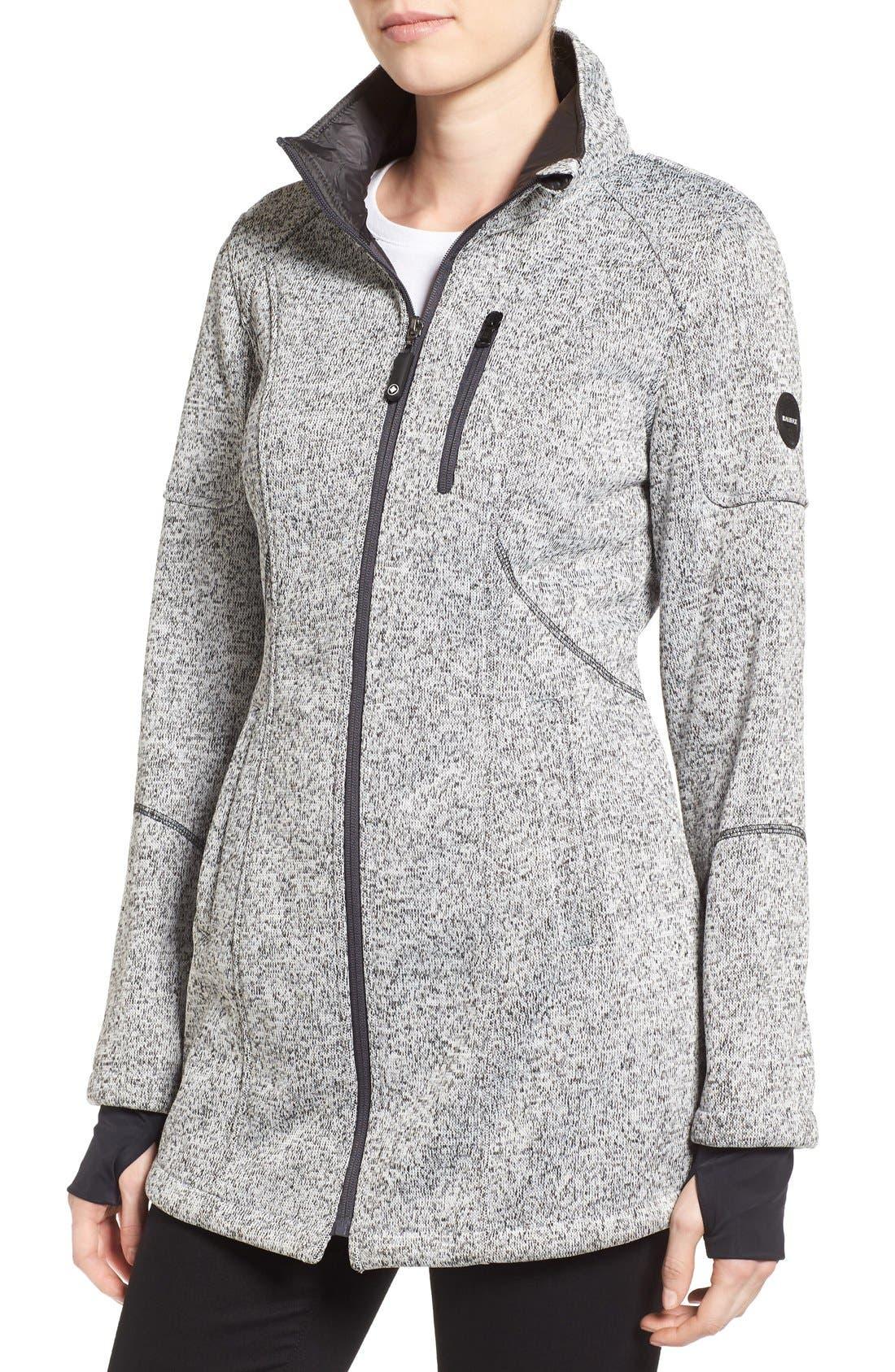 Bonded Knit Zip Front Jacket,                             Alternate thumbnail 4, color,                             070