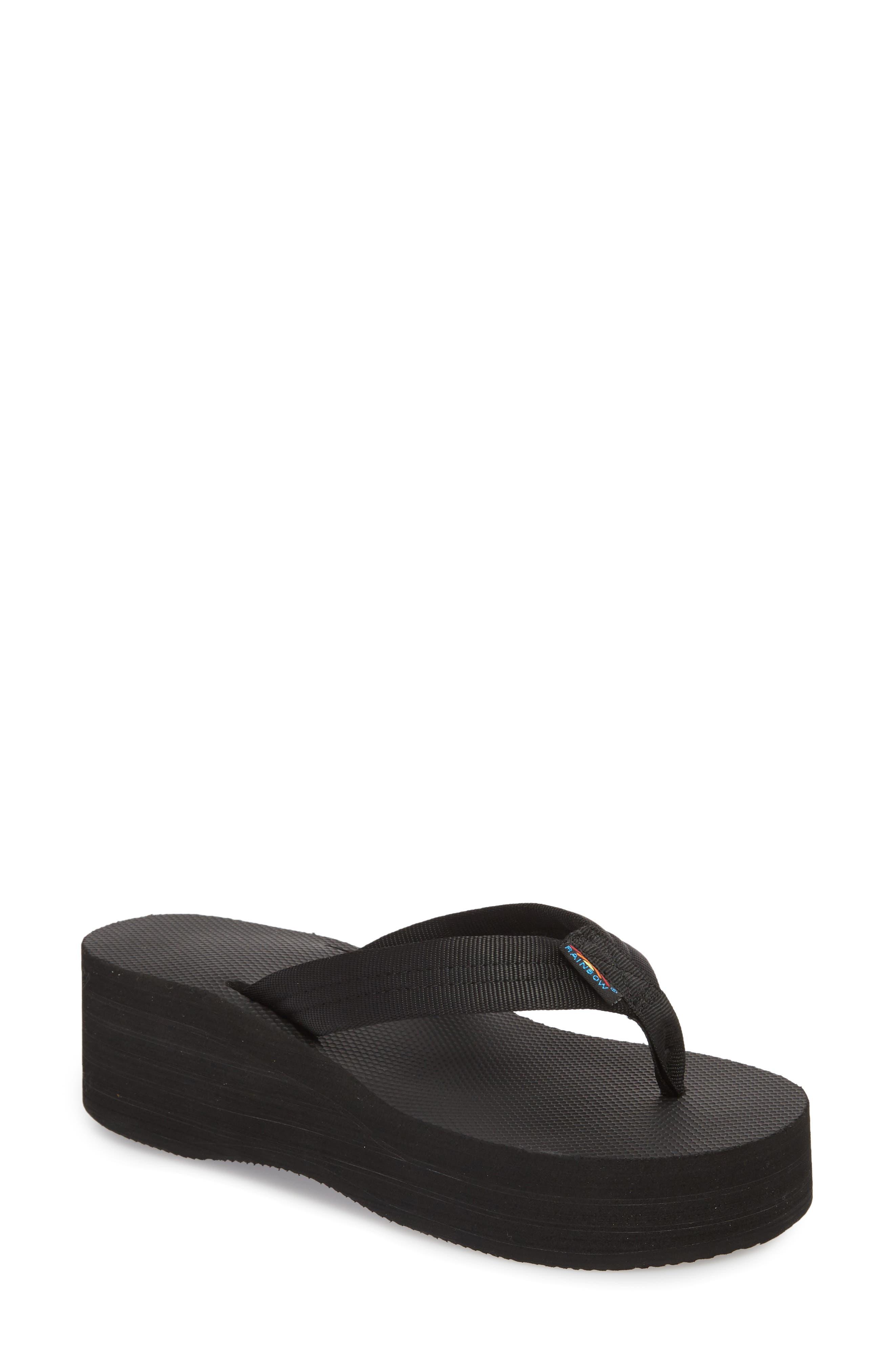 6-Layer Wedge Flip Flop,                         Main,                         color, BLACK