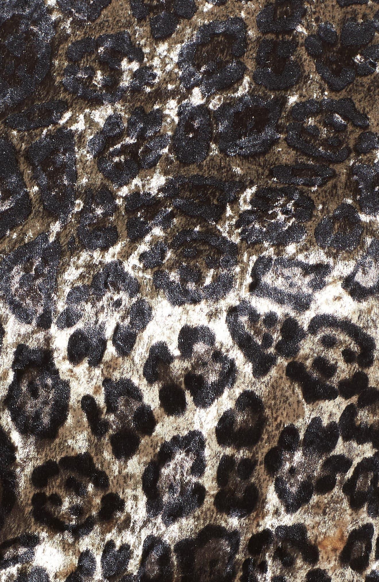 Velvet Leopard Print Peplum Top,                             Alternate thumbnail 6, color,                             BROWN WHITE