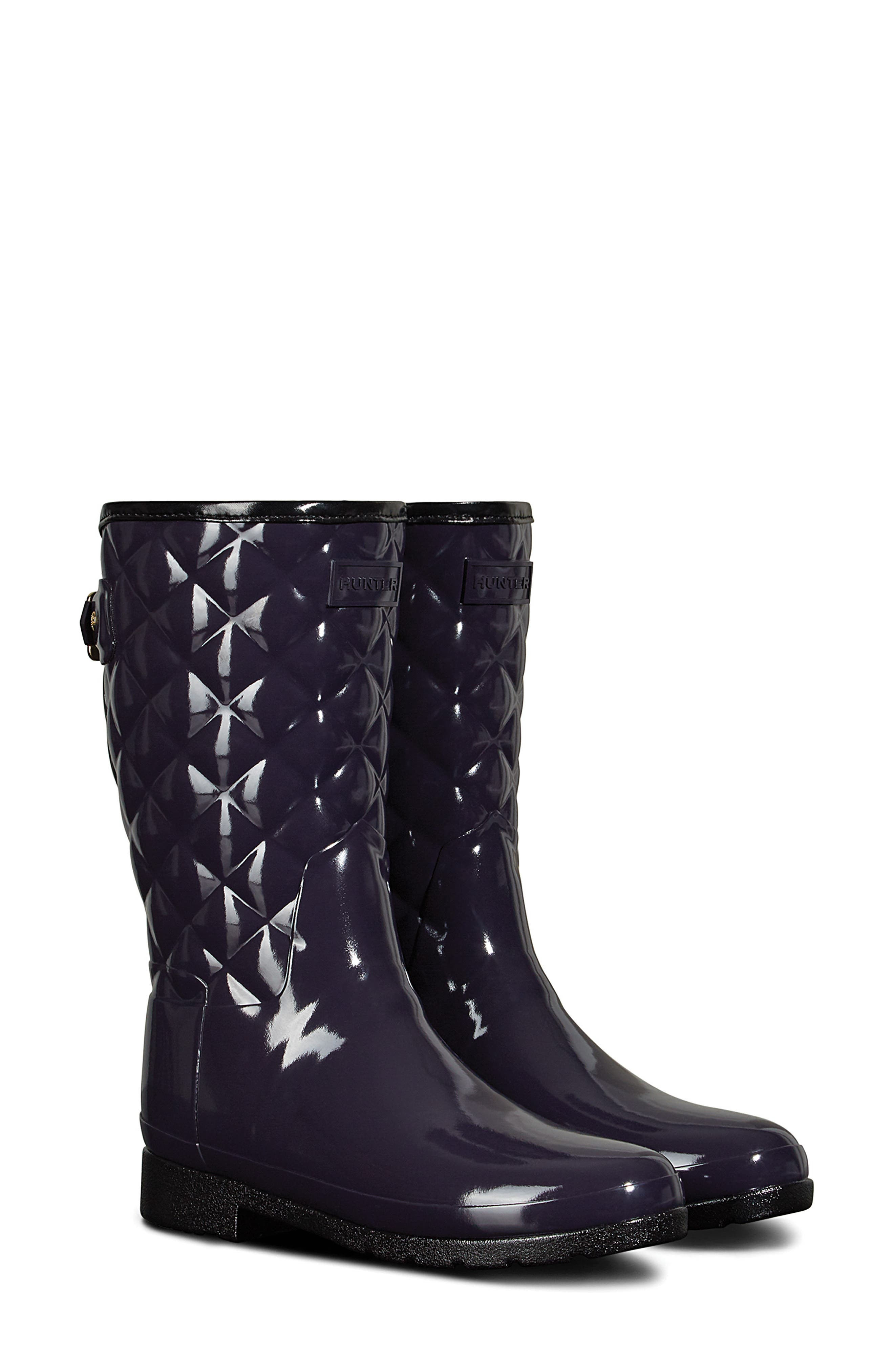 Refined High Gloss Quilted Short Rain Boot,                             Main thumbnail 1, color,                             AUBERGINE