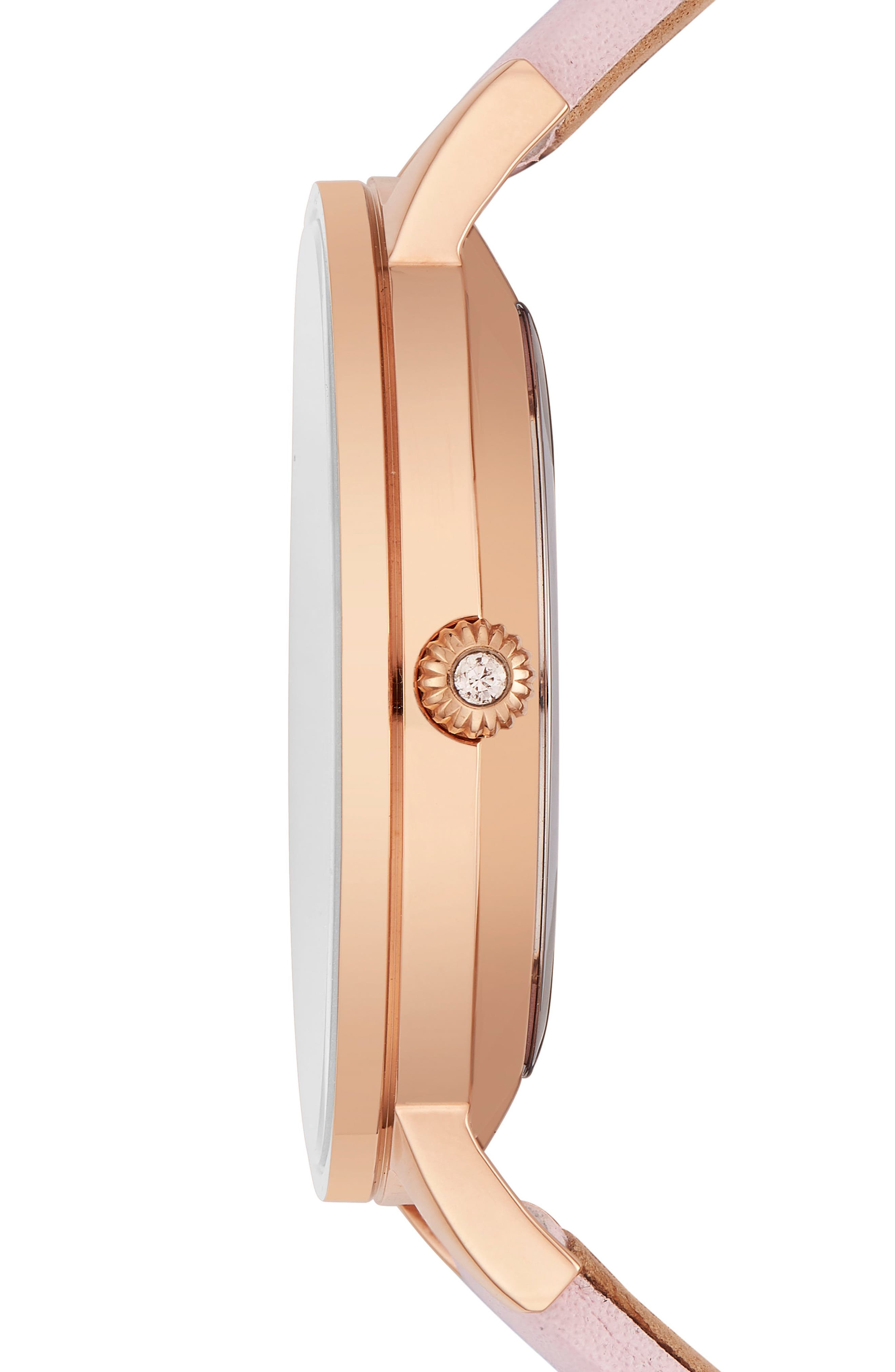 Olivia Leather Strap Watch,                             Alternate thumbnail 3, color,                             PINK/ WHITE/ ROSE GOLD