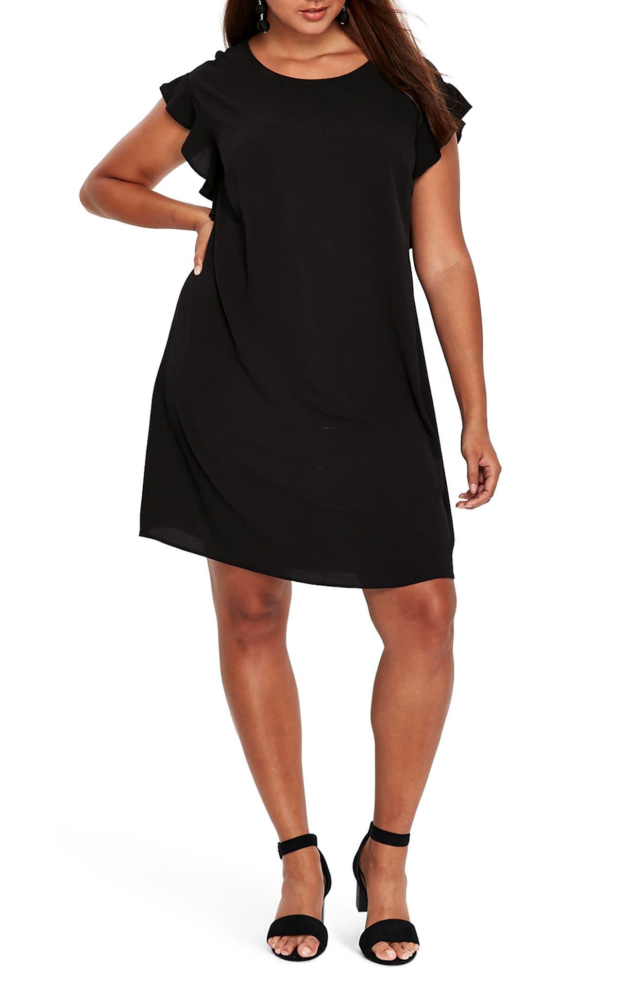 Ruffle Sleeve Shift Dress,                             Main thumbnail 1, color,                             001