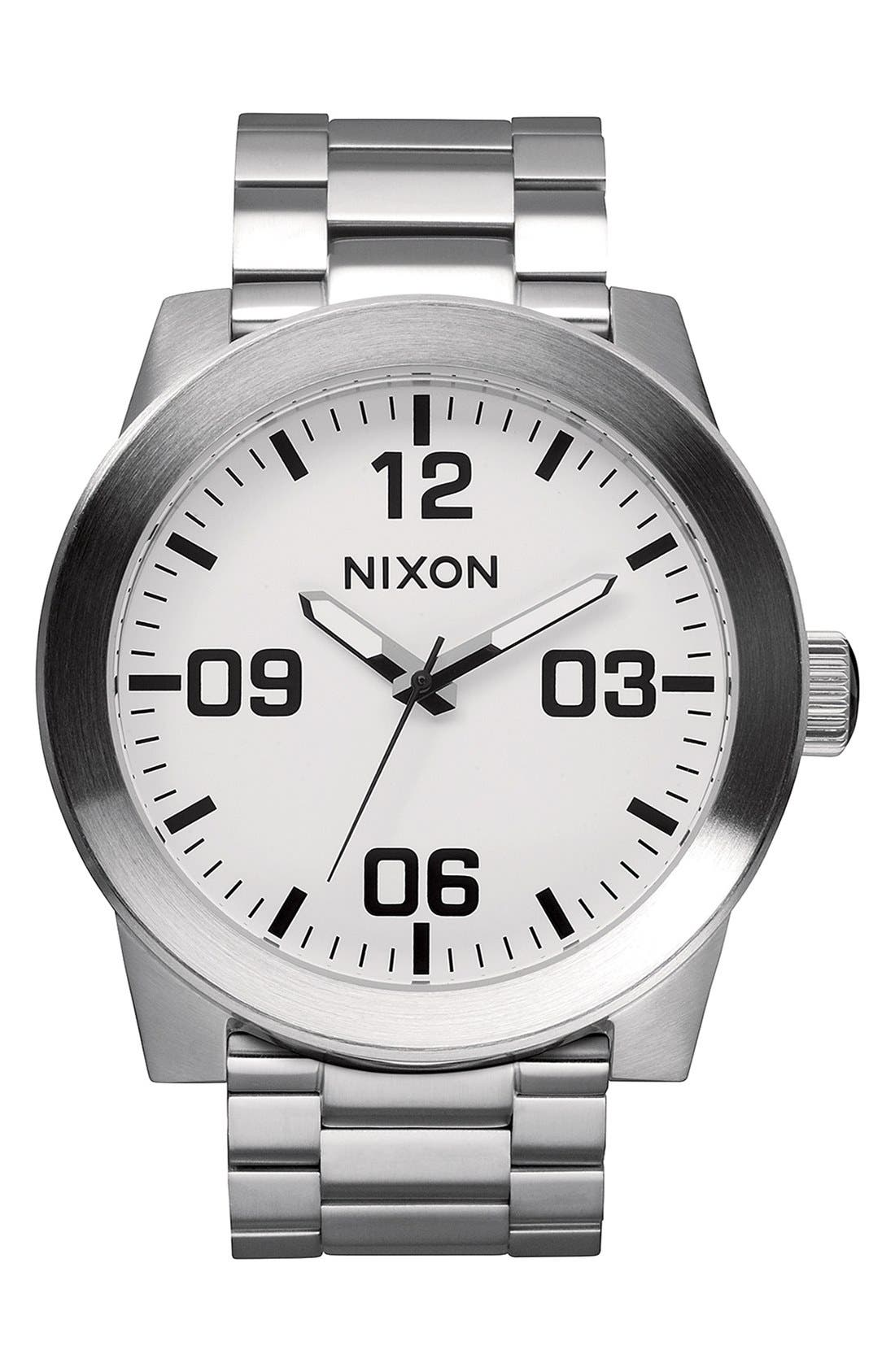 'The Corporal' Bracelet Watch, 48mm,                             Main thumbnail 1, color,                             WHITE/ SILVER