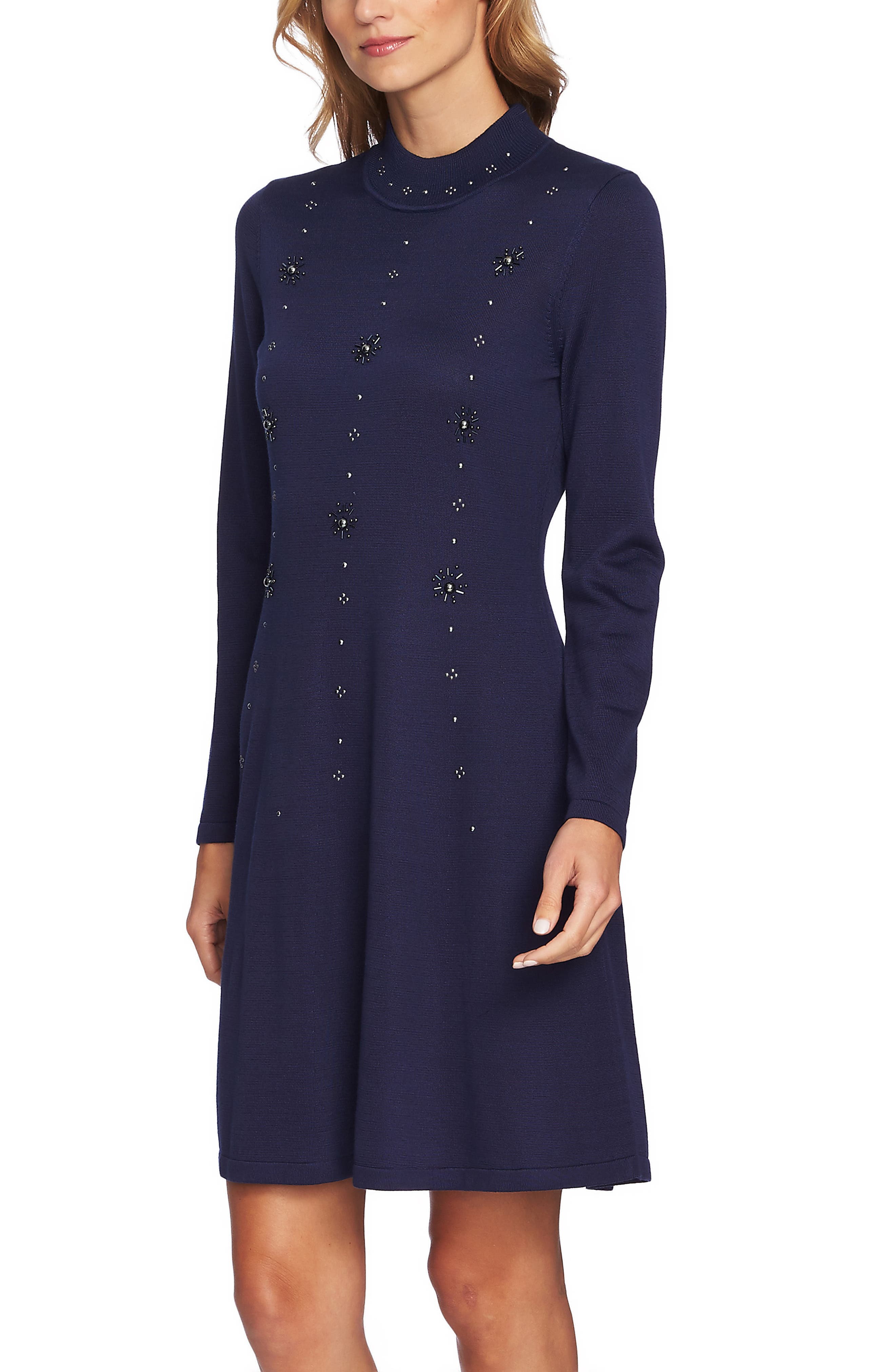 Embellished Sweater Dress,                             Alternate thumbnail 3, color,                             MIDNIGHT BLOOM