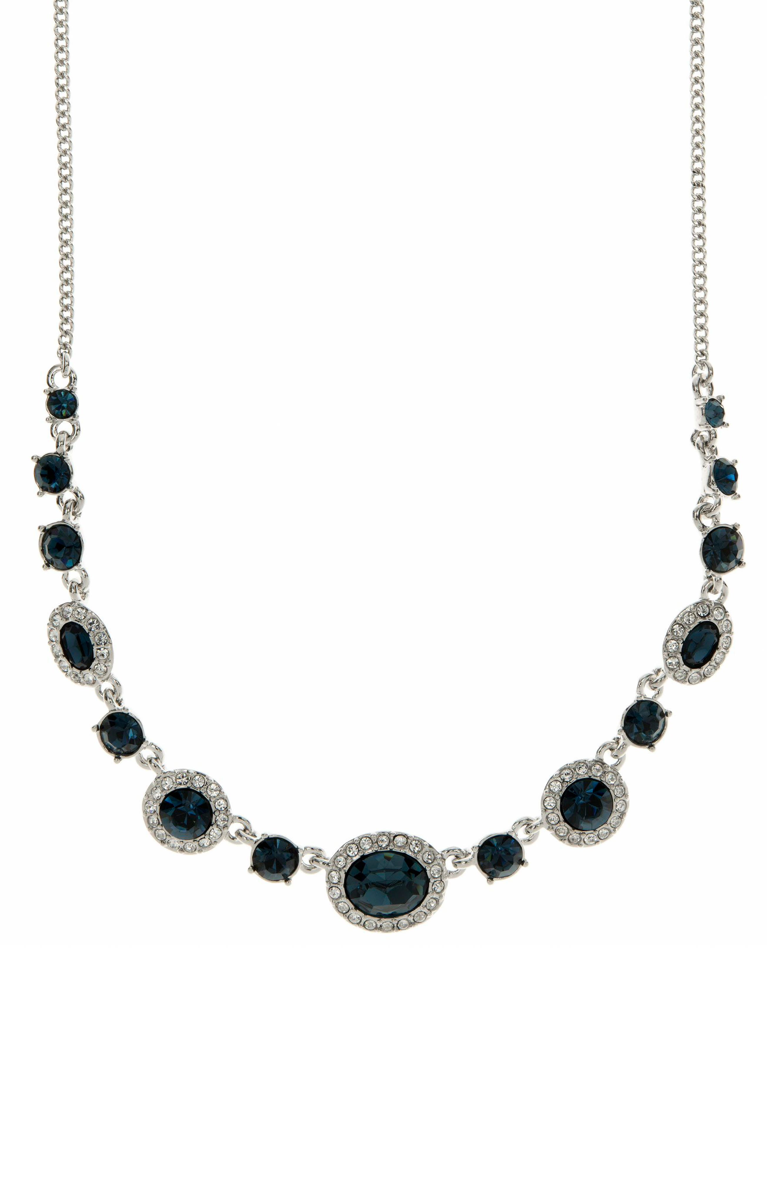 Crsytal Frontal Necklace,                         Main,                         color, BLUE / SILVER
