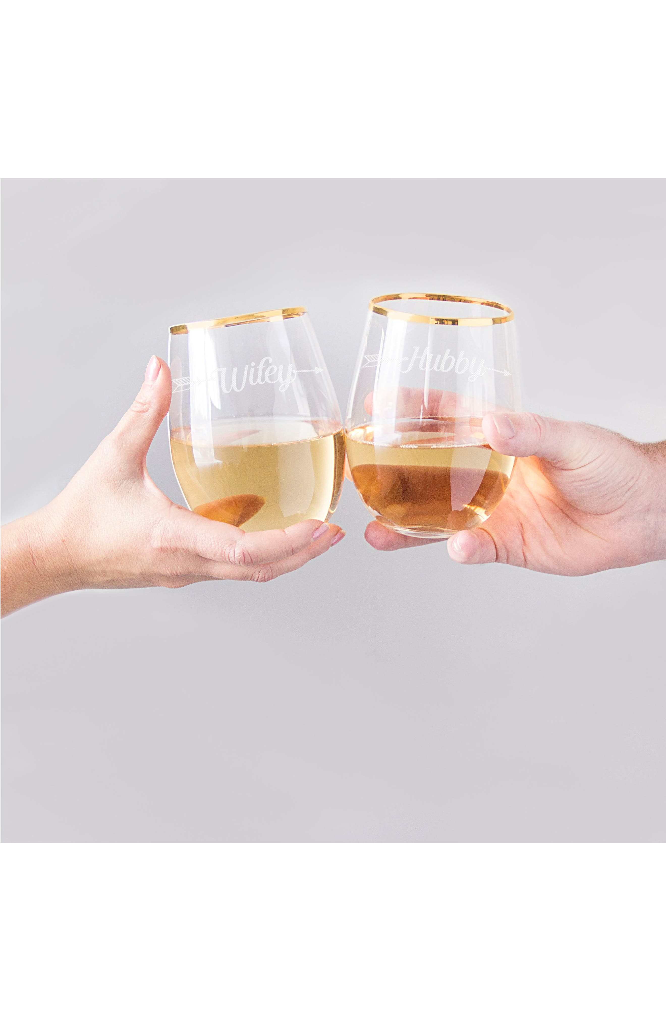 Hubby/Wifey Set of 2 Gold Rimmed Stemless Wine Glasses,                             Alternate thumbnail 5, color,                             710