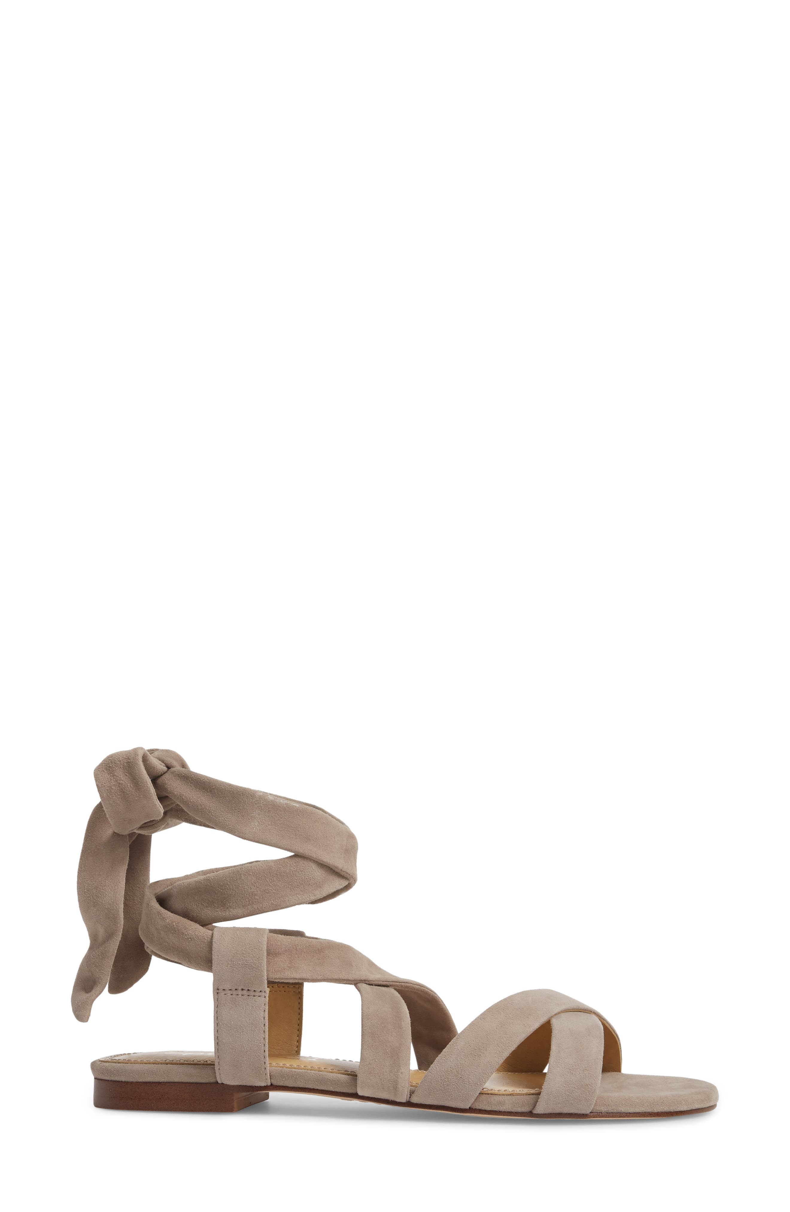 Feodora Ankle Wrap Sandal,                             Alternate thumbnail 3, color,                             TAUPE SUEDE
