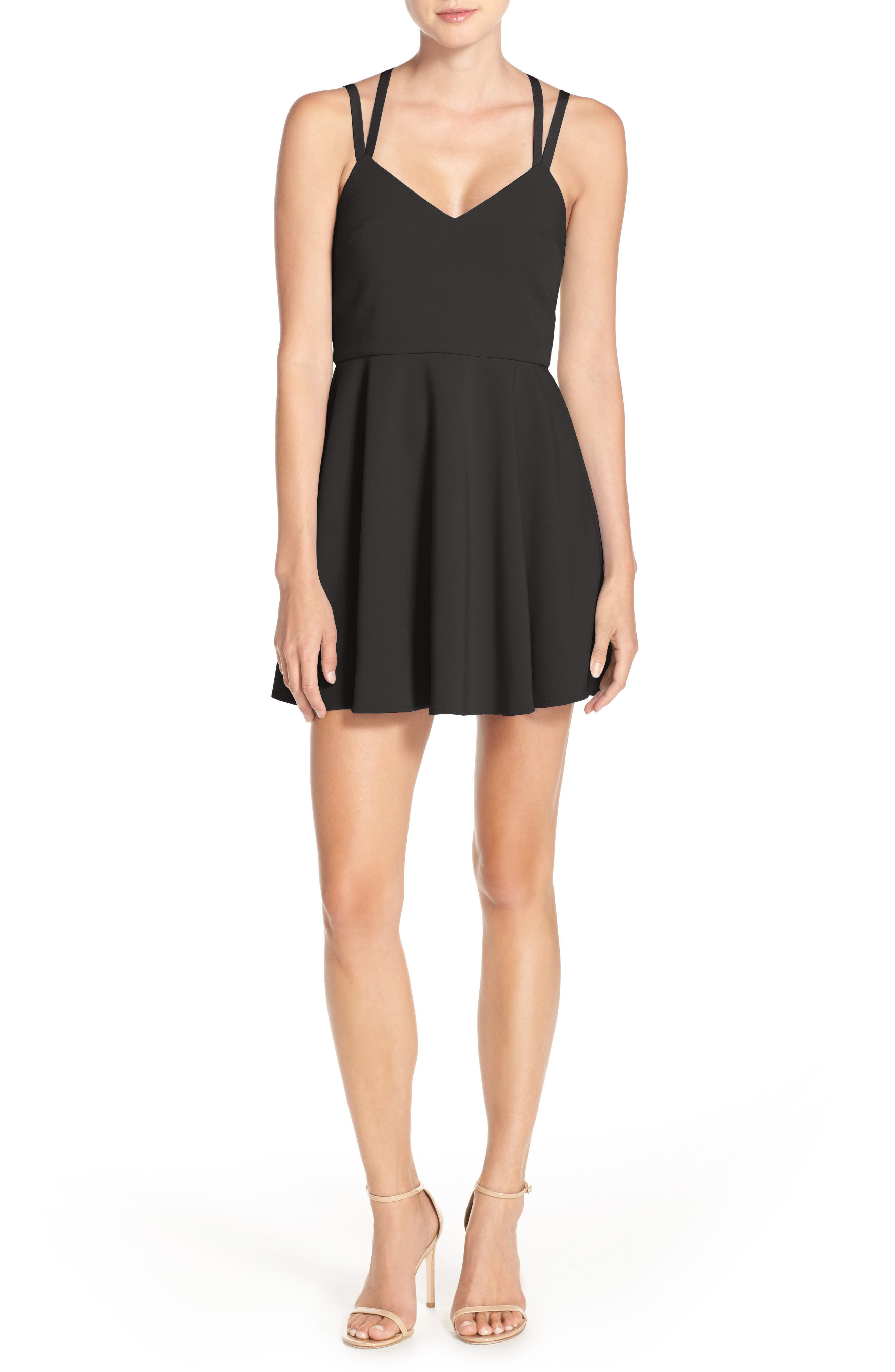 Whisper Light Fit & Flare Dress,                             Main thumbnail 1, color,                             BLACK