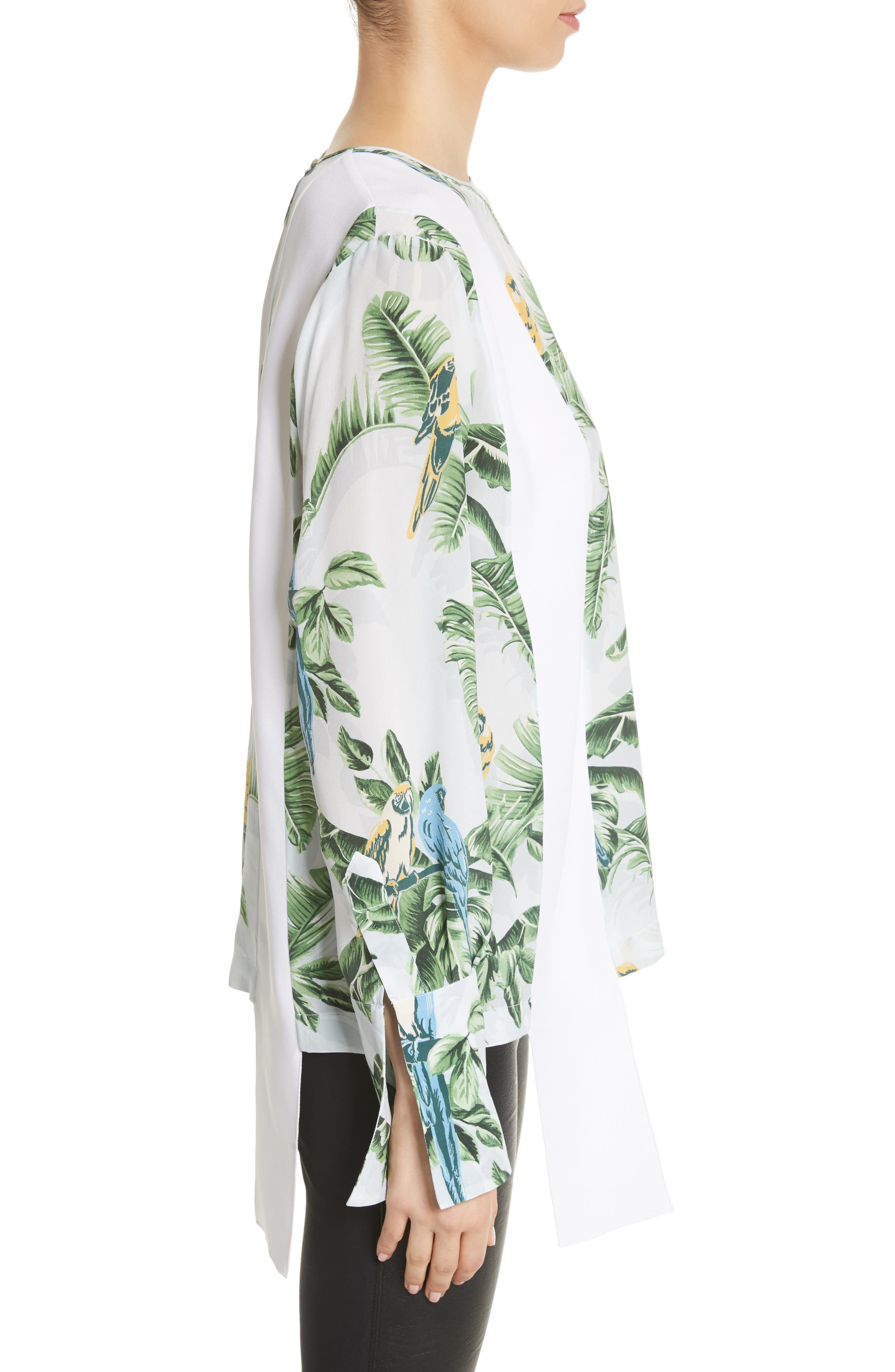 Claire Bird of Paradise Crêpe de Chine Blouse,                             Alternate thumbnail 3, color,