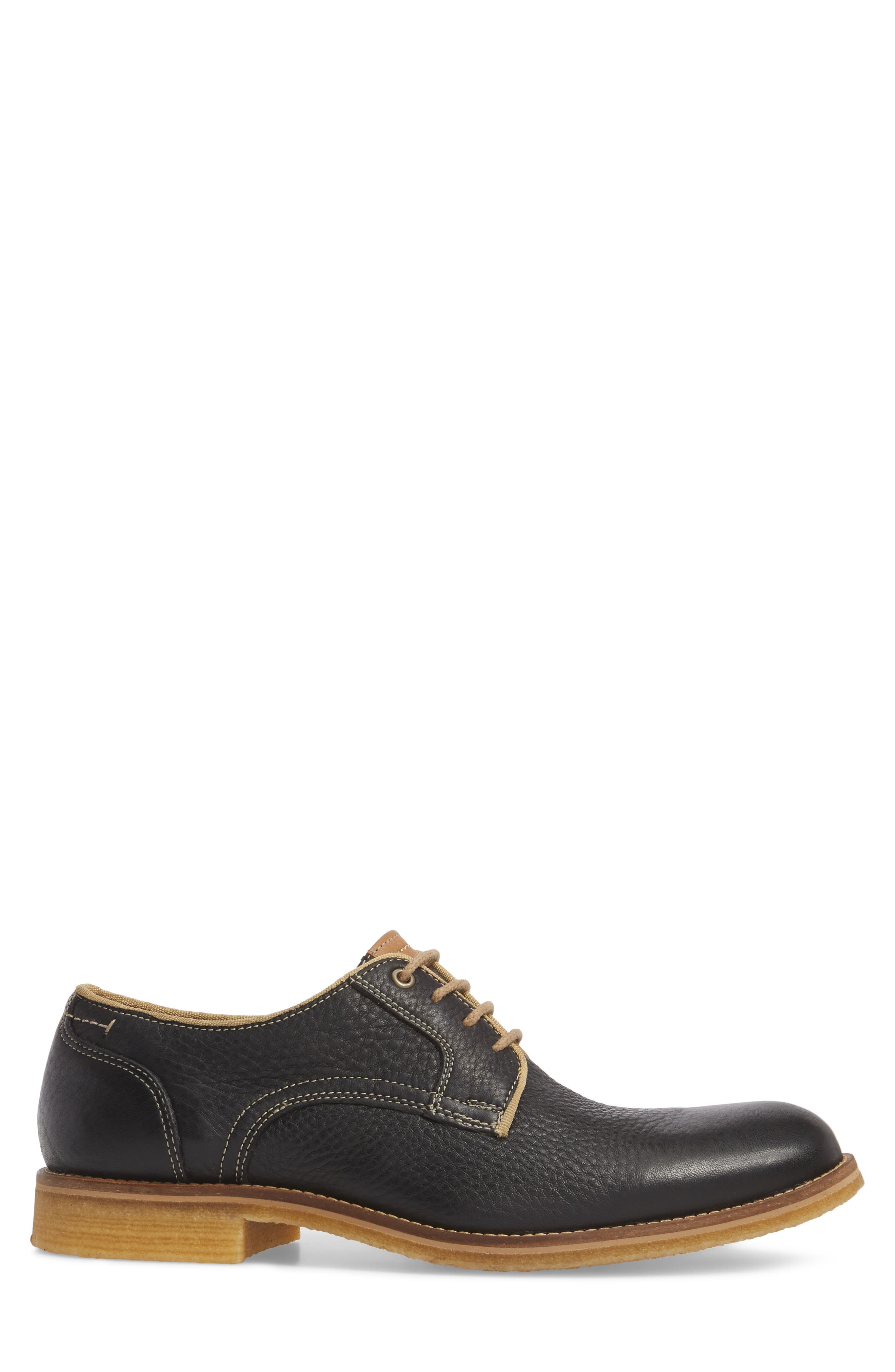 Howell Plain Toe Derby,                             Alternate thumbnail 3, color,                             BLACK LEATHER