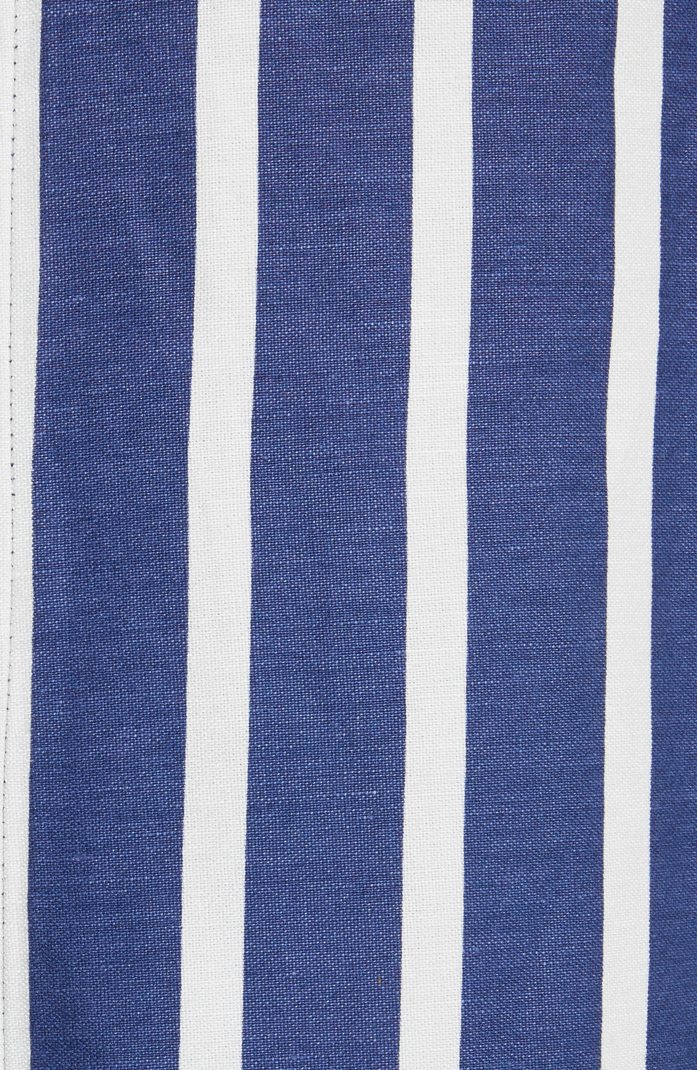 Sabrena Stripe Front Slit Linen Blend Midi Skirt,                             Alternate thumbnail 5, color,                             475