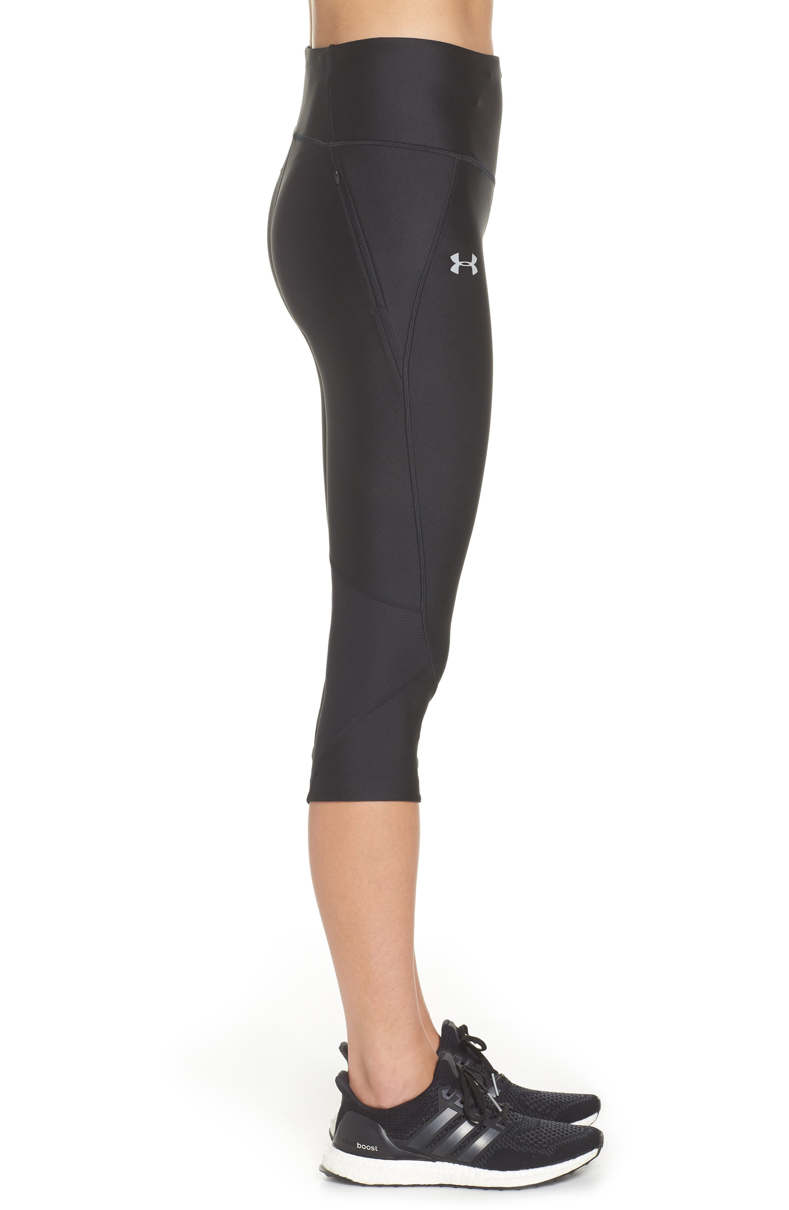 Fly Fast HeatGear<sup>®</sup> Capri Leggings,                             Alternate thumbnail 3, color,                             001