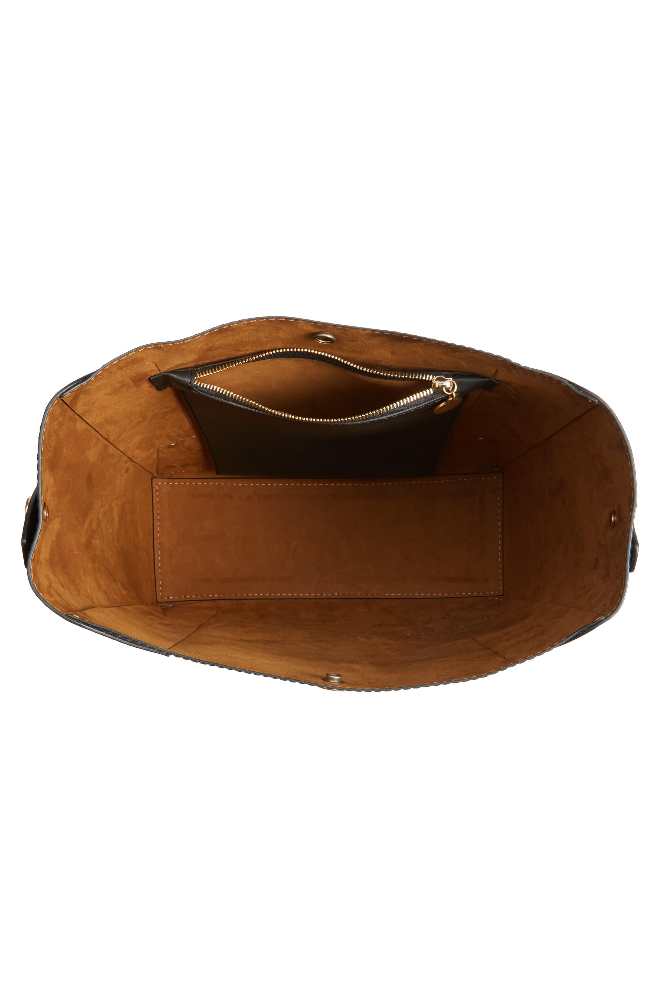 Faux Leather Bucket Bag,                             Alternate thumbnail 4, color,                             001