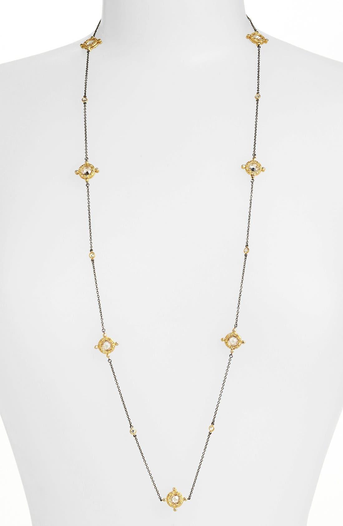 Long Station Necklace,                         Main,                         color, GUNMETAL/ GOLD