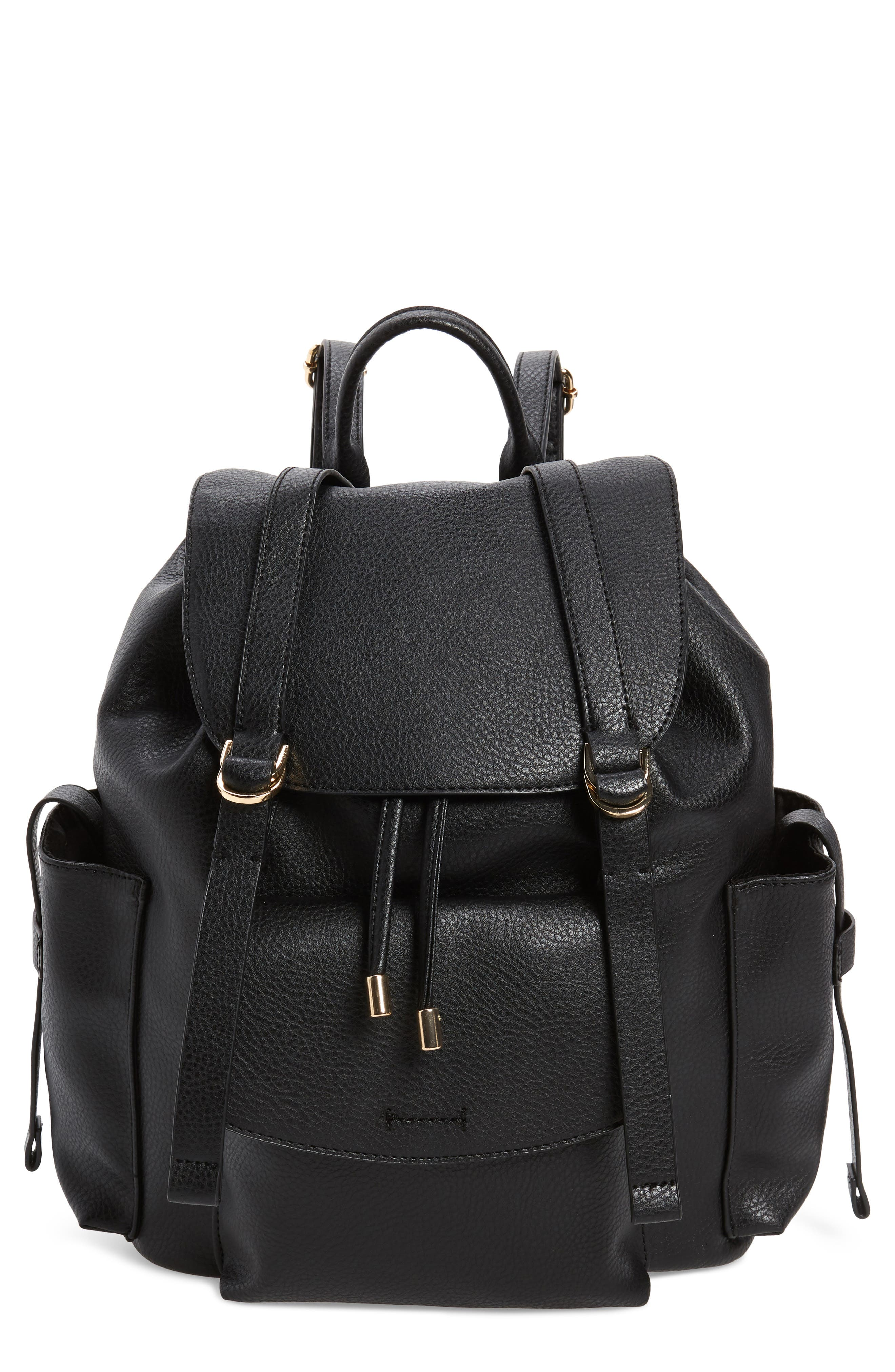 Topshop Becky Faux Leather Backpack - Black
