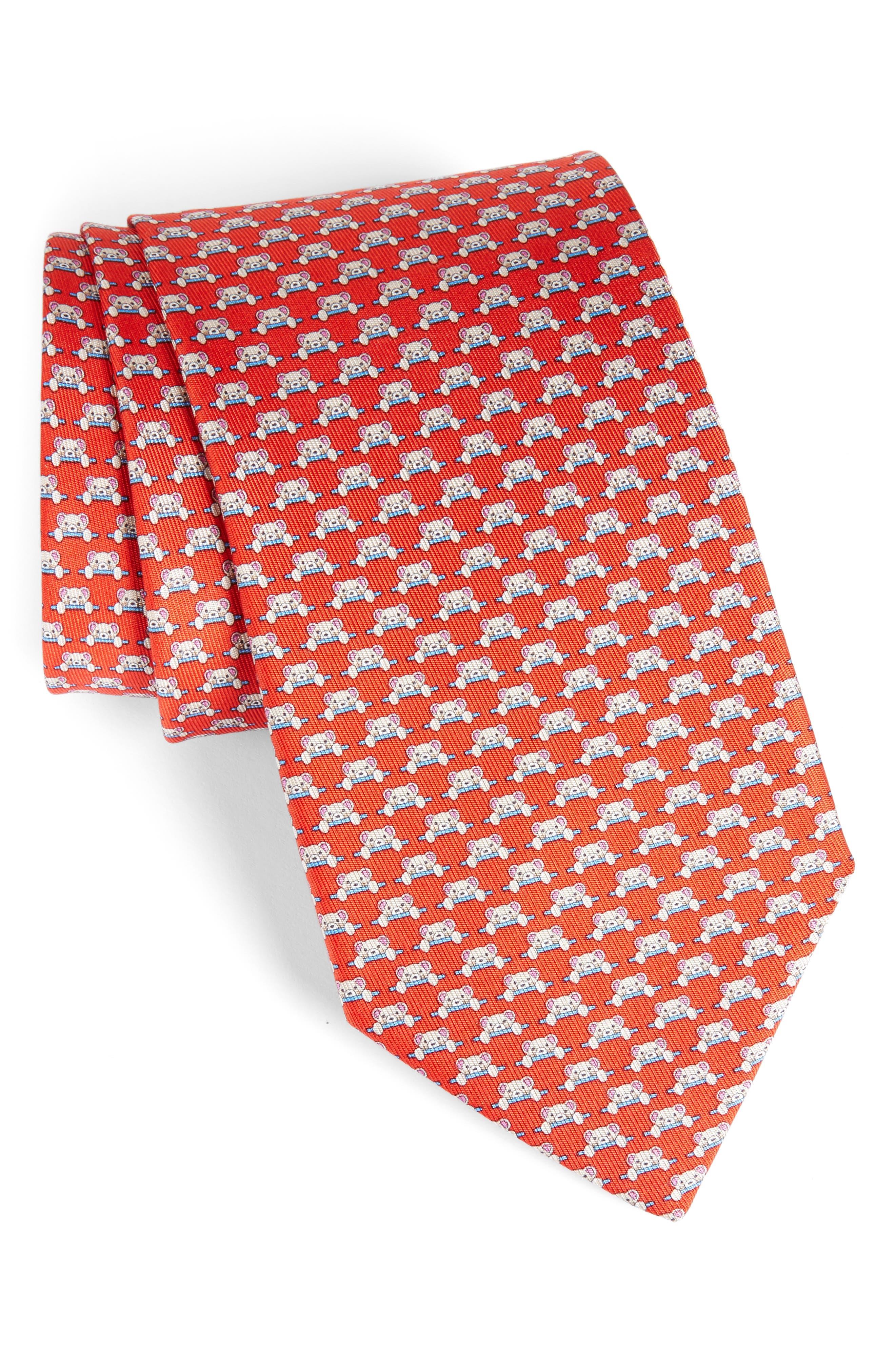 Dino Bear Print Silk Tie,                             Main thumbnail 2, color,