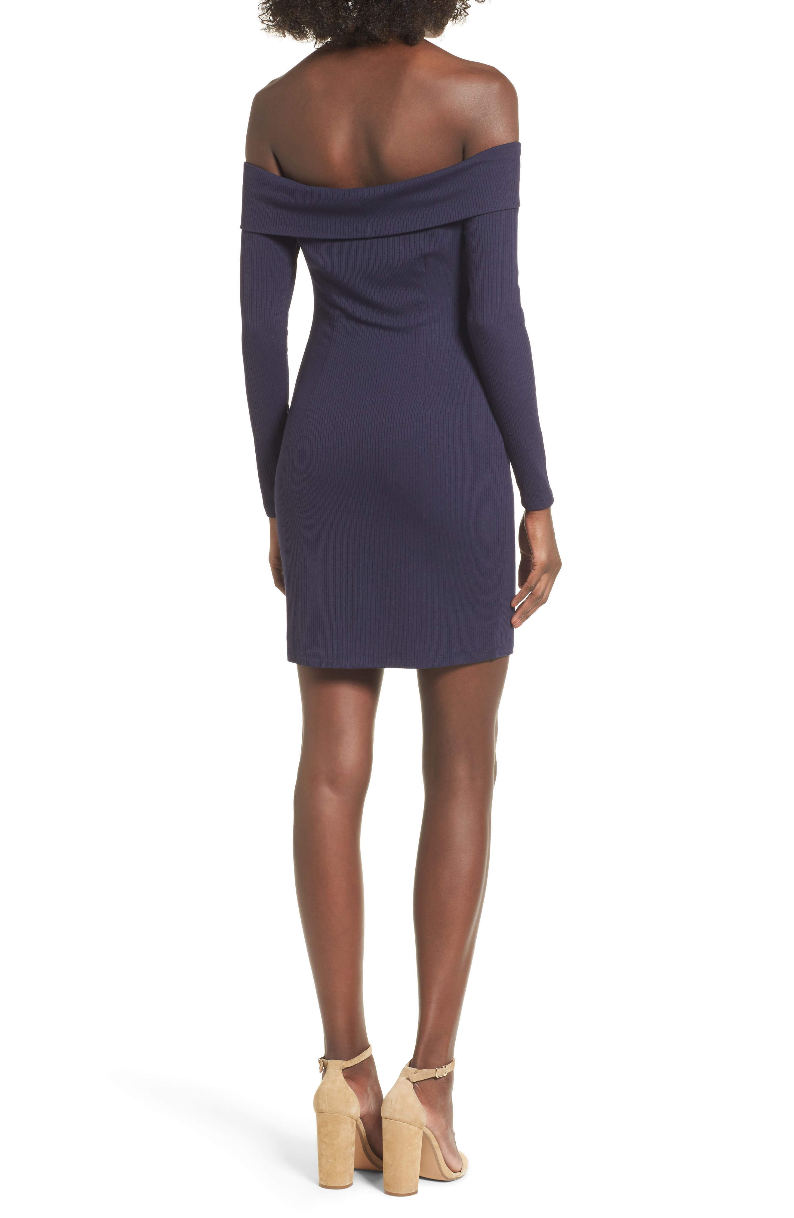 Silas Off the Shoulder Body-Con Dress,                             Alternate thumbnail 6, color,