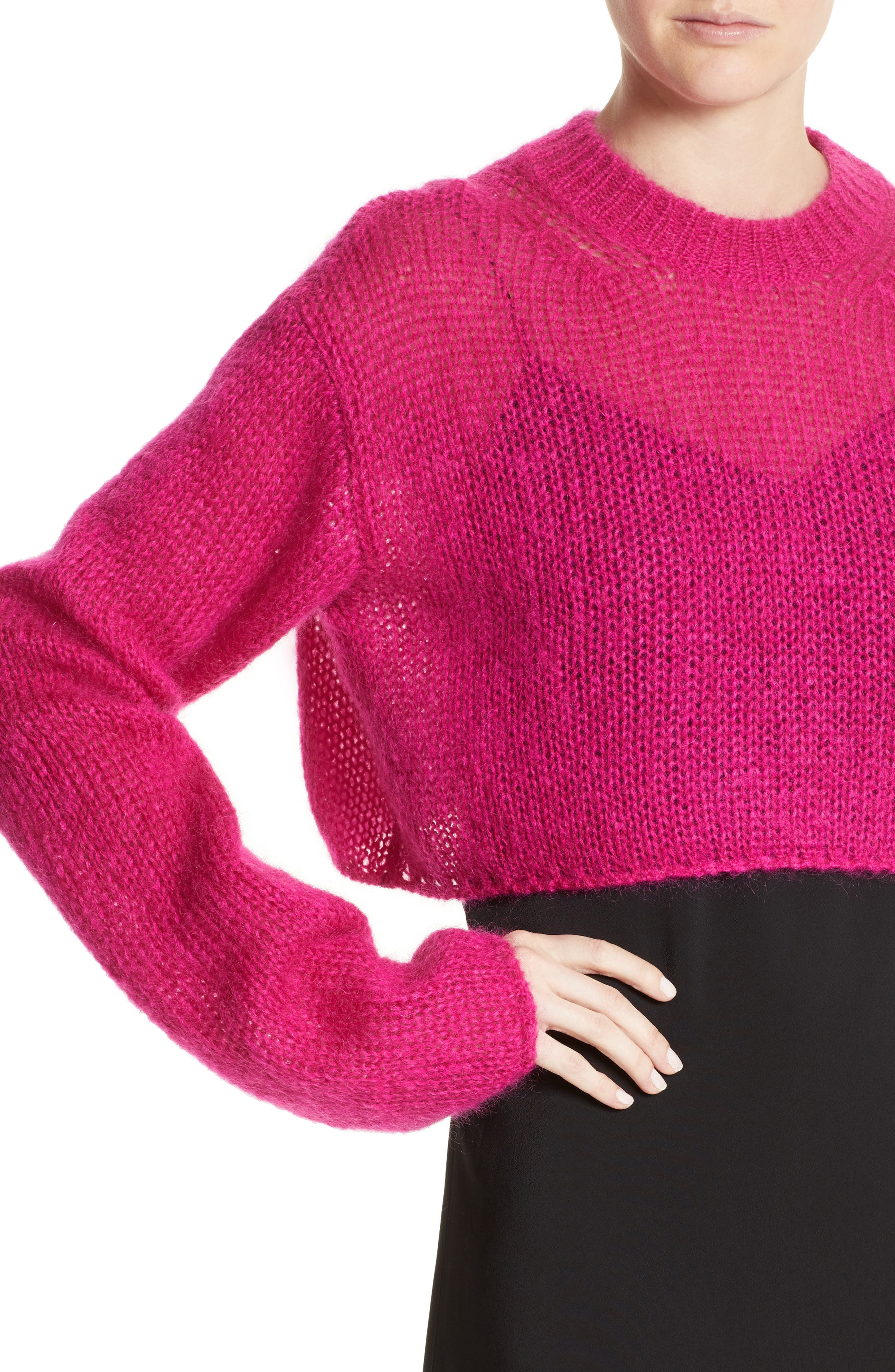 McQ by Alexander McQueen Mohair Blend Crop Sweater,                             Alternate thumbnail 4, color,