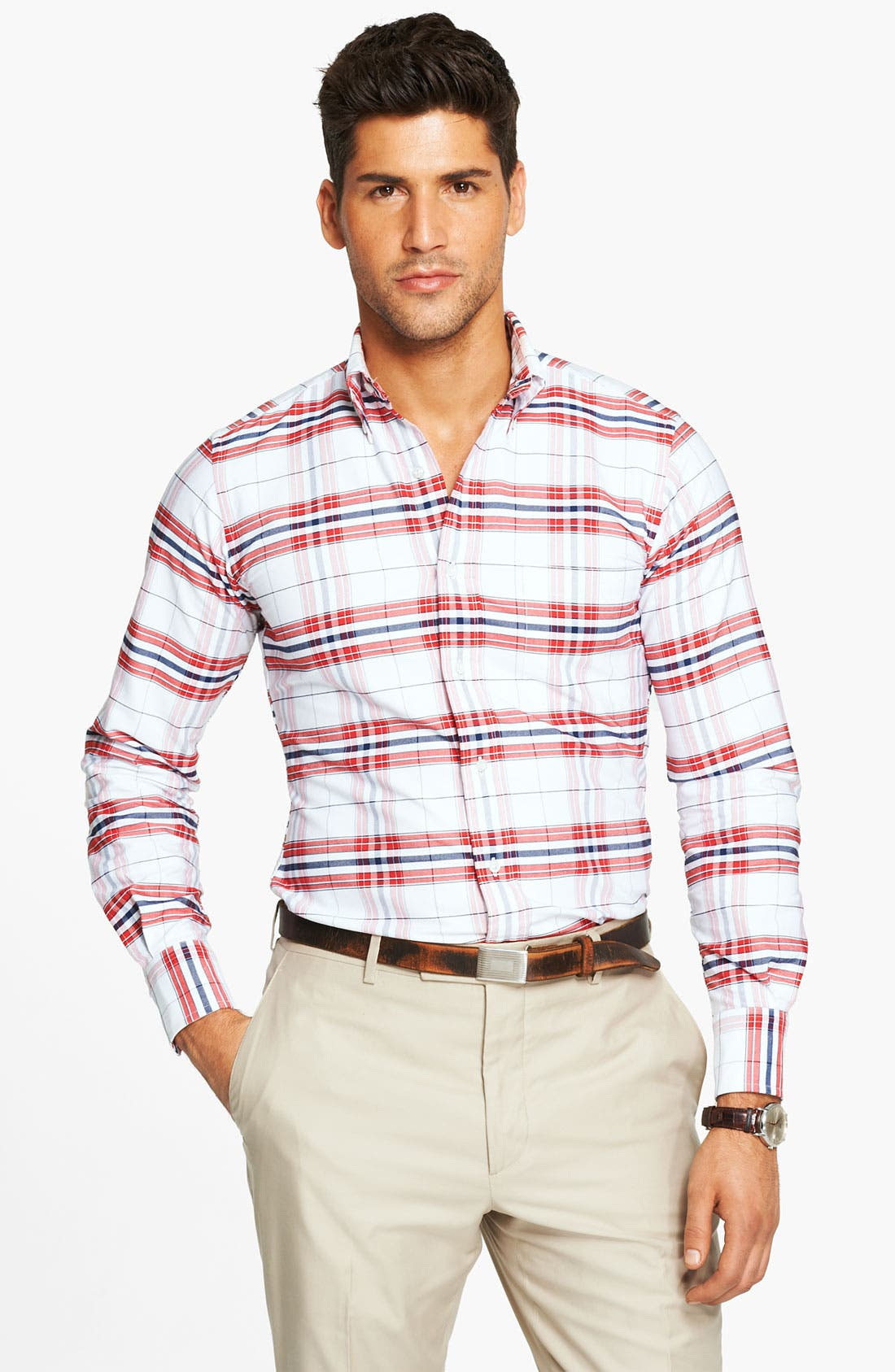Plaid Oxford Shirt,                             Alternate thumbnail 6, color,                             600